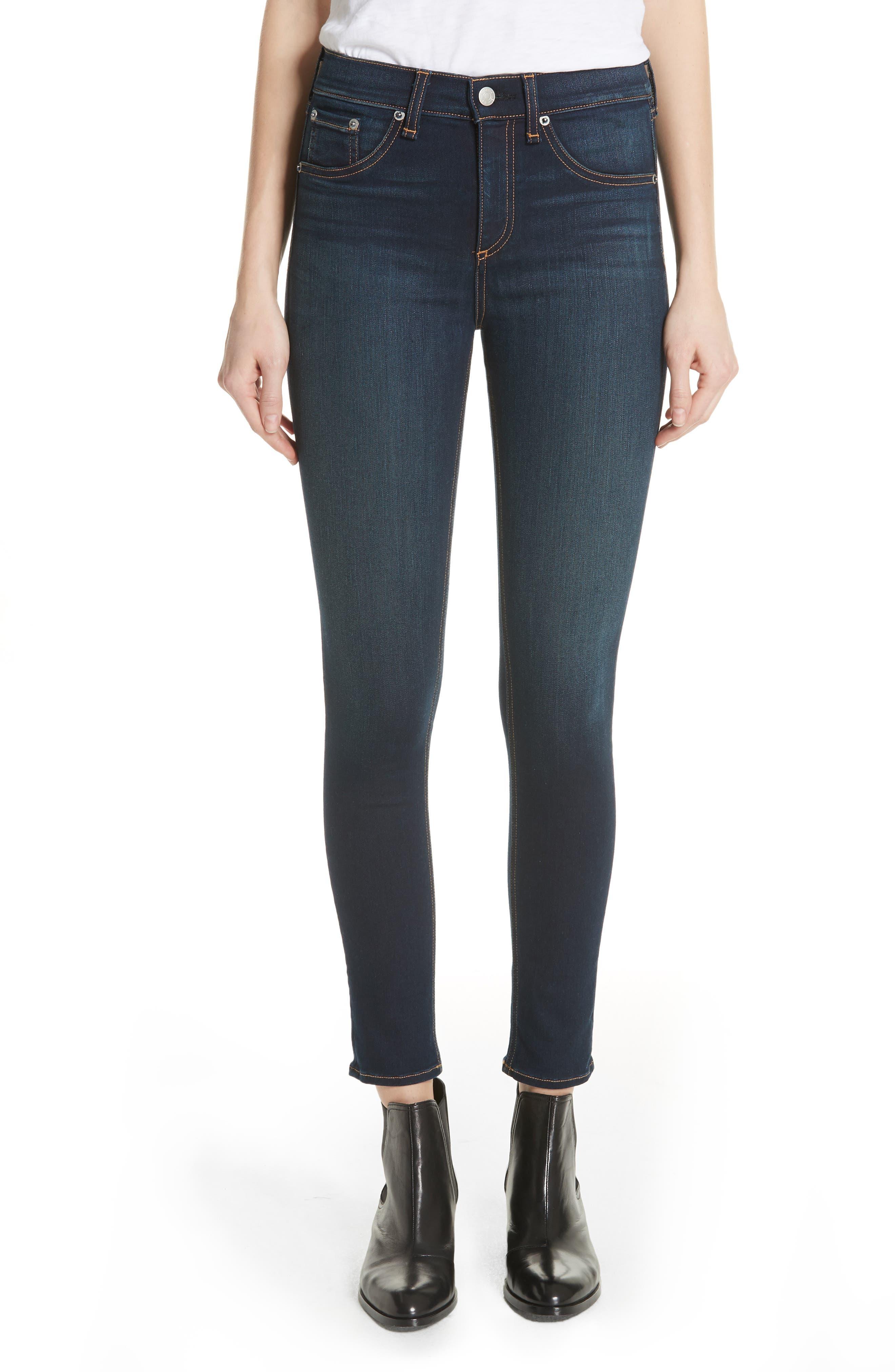 RAG & BONE, High Waist Ankle Skinny Jeans, Main thumbnail 1, color, BEDFORD