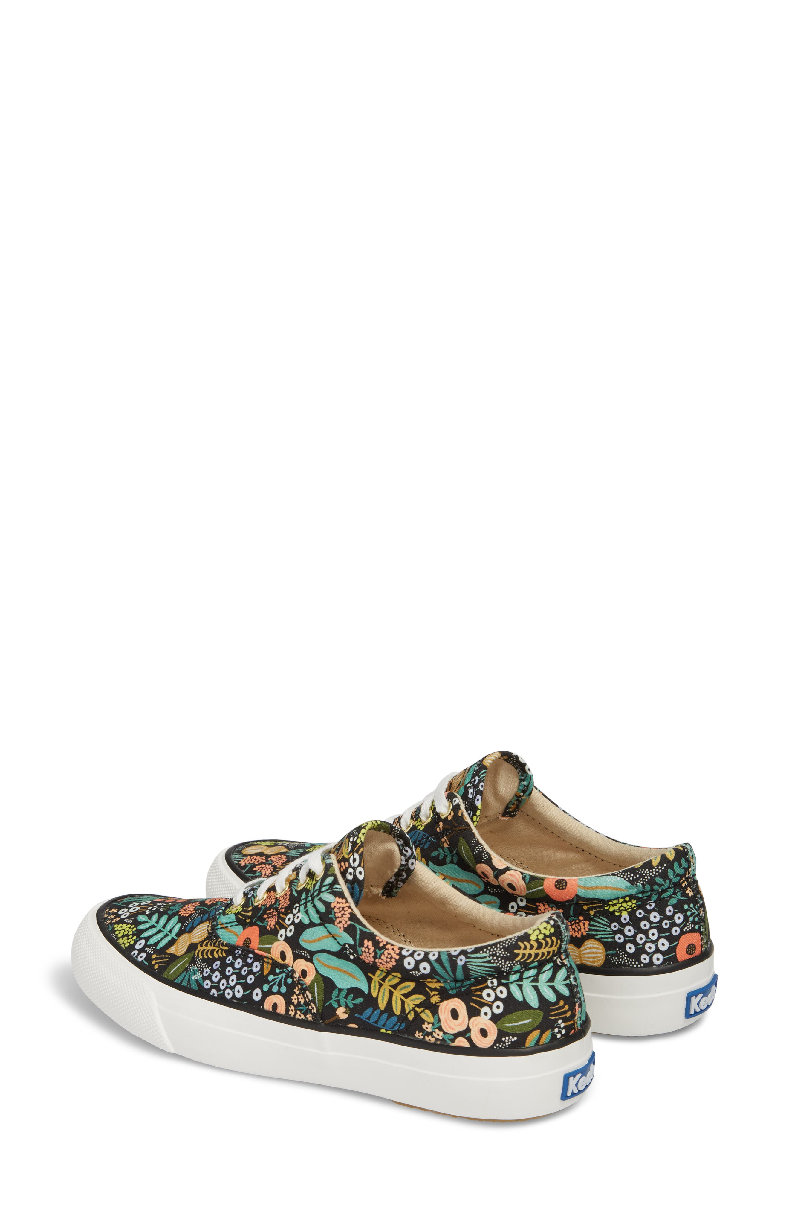 KEDS<SUP>®</SUP>, x Rifle Paper Co. Anchor Lively Floral Slip-On Sneaker, Alternate thumbnail 3, color, BLACK