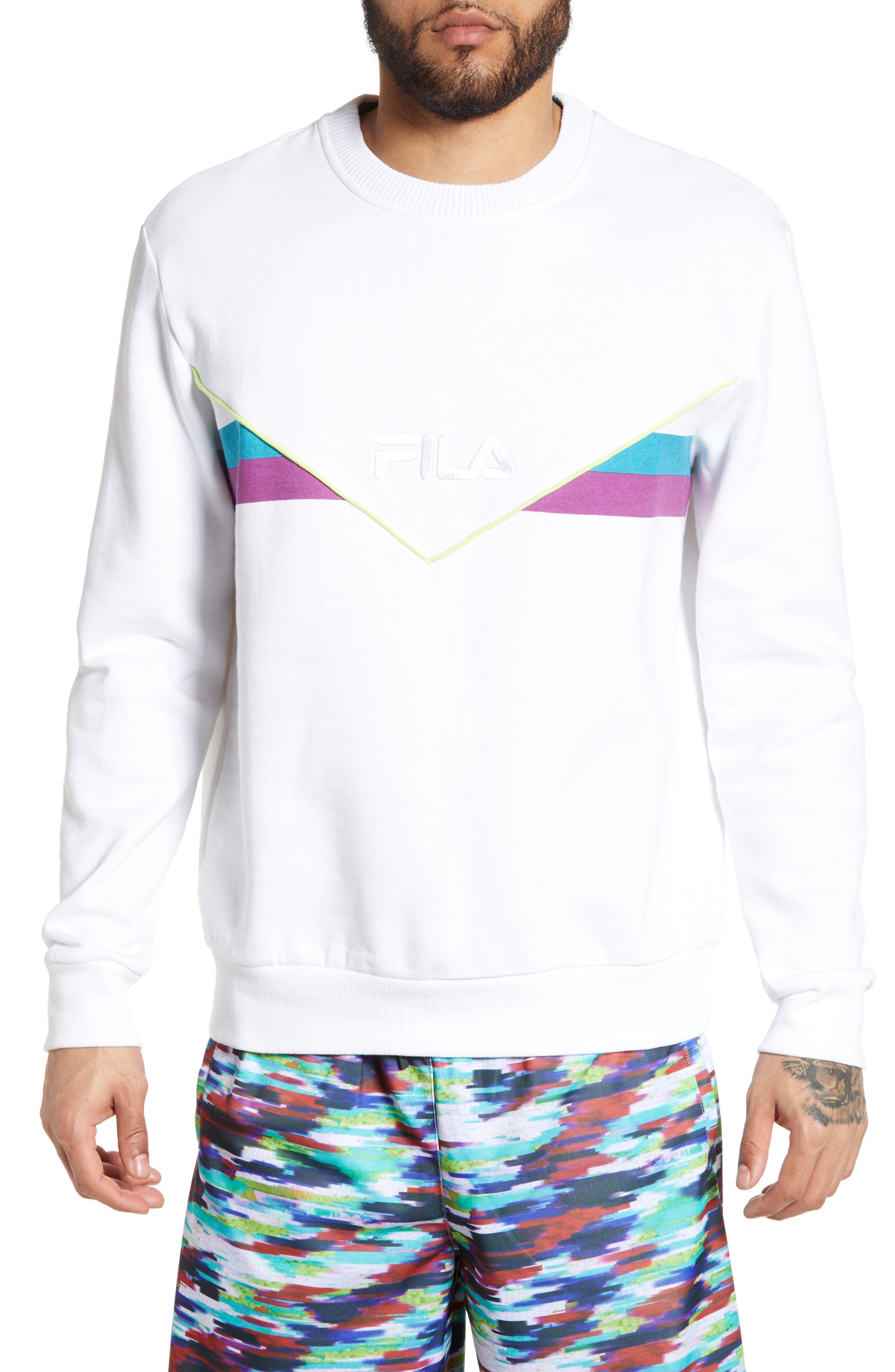 FILA Leroy Chevron Sweatshirt, Main, color, WHITE