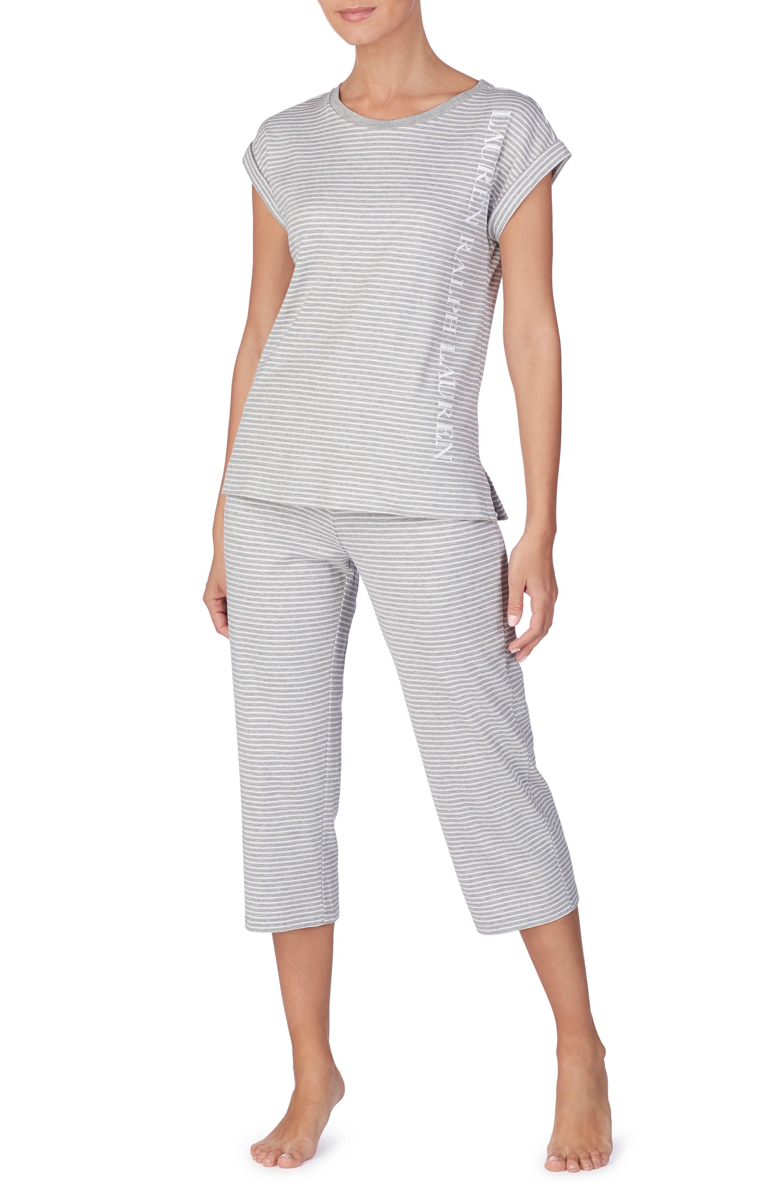 LAUREN RALPH LAUREN, Capri Pajama Pants, Alternate thumbnail 3, color, GREY STRIPE