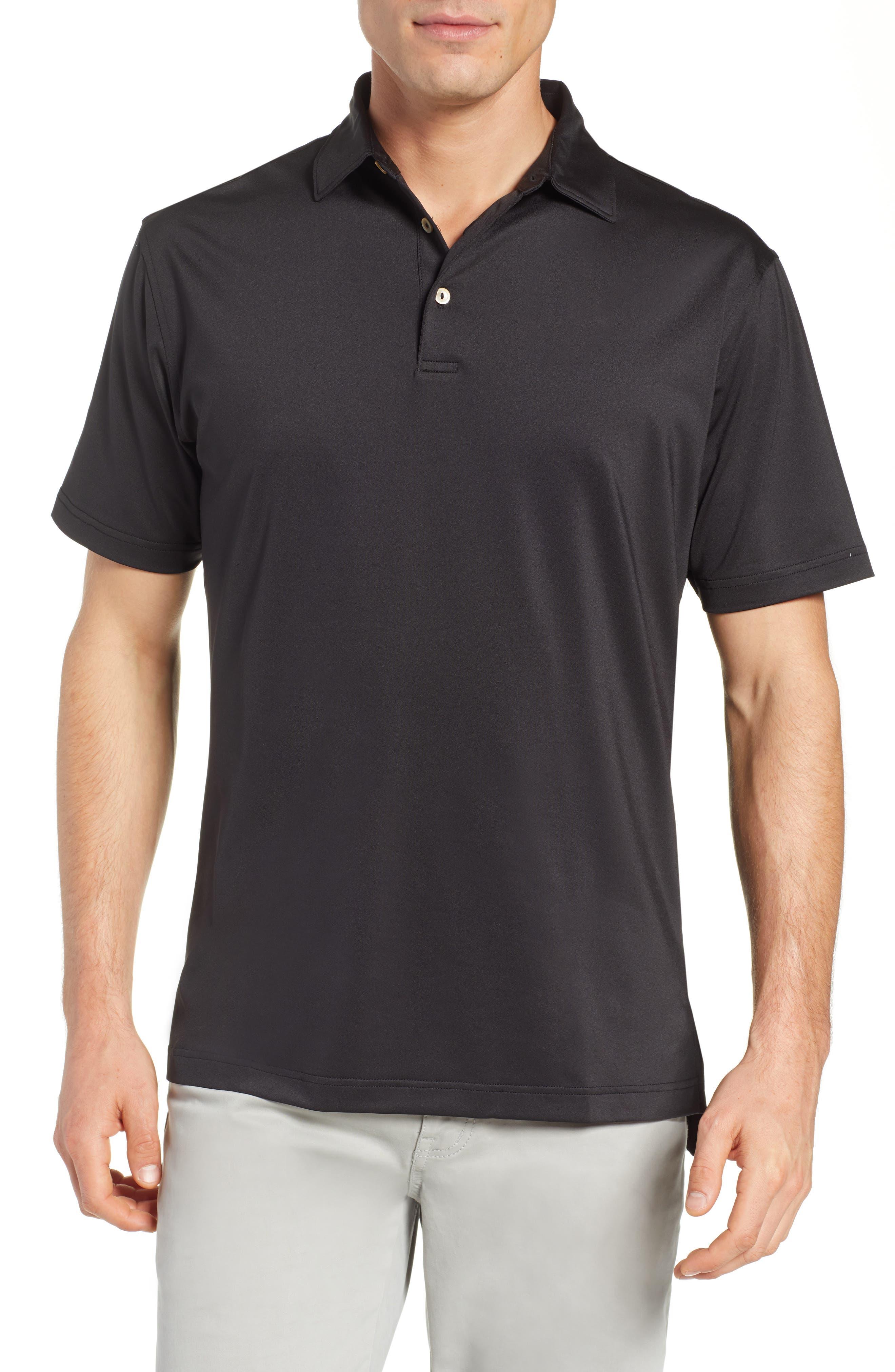 PETER MILLAR, Sean Regular Fit Stretch Jersey Polo, Main thumbnail 1, color, BLACK