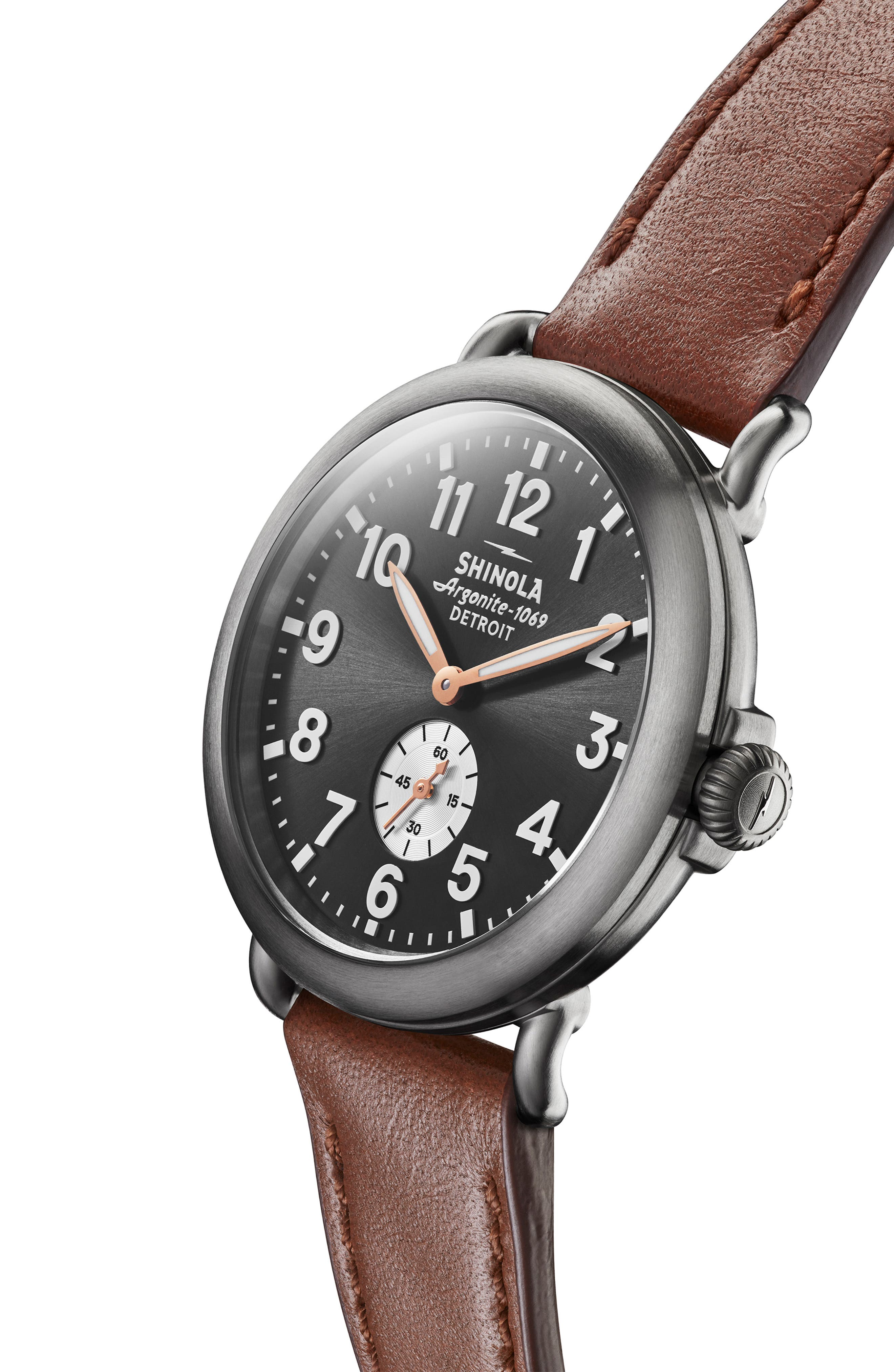 SHINOLA, 'The Runwell' Leather Strap Watch, 41mm, Alternate thumbnail 4, color, DARK COGNAC/ GUNMETAL/ GREY