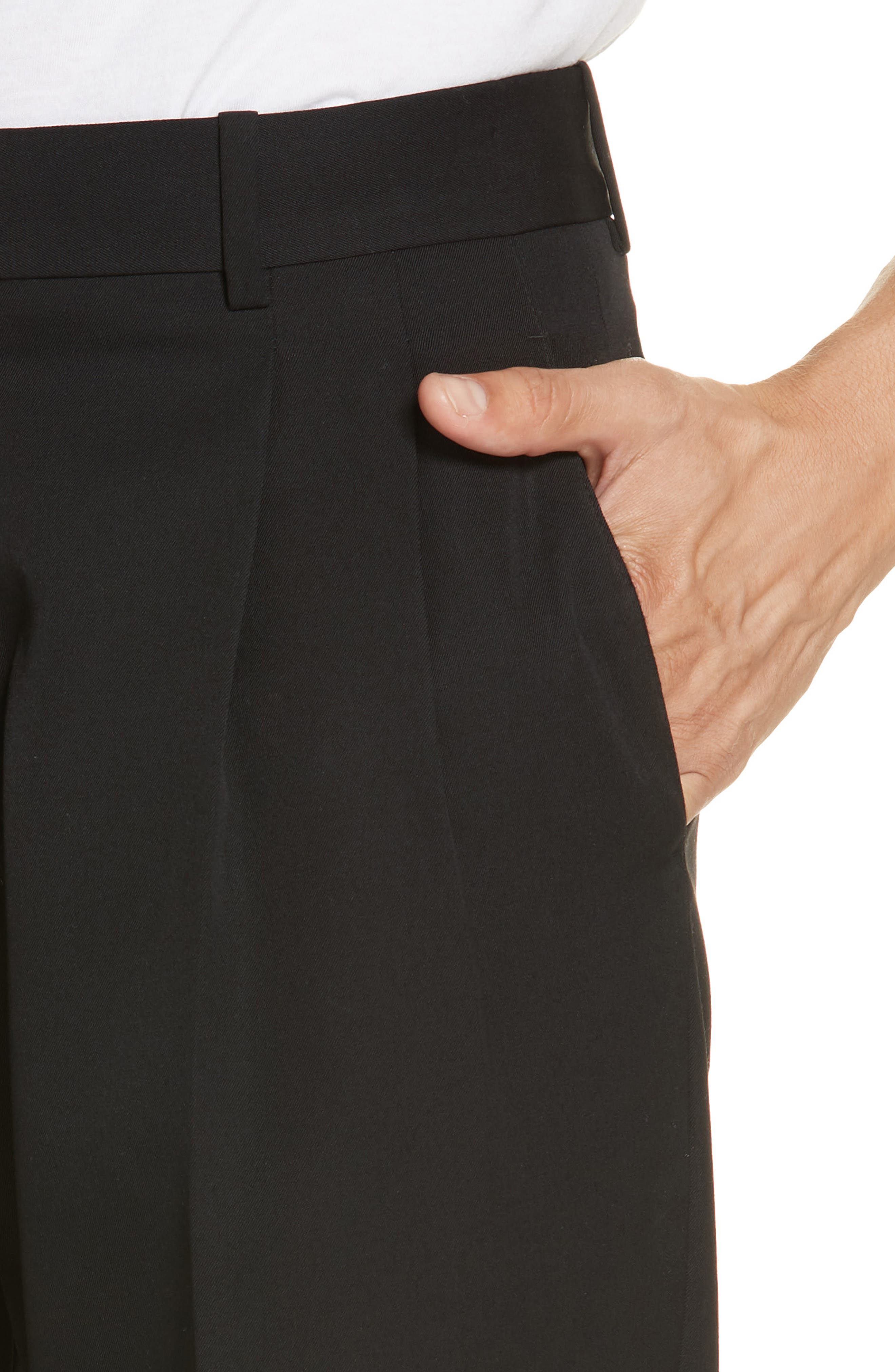 CALVIN KLEIN 205W39NYC, Wool Gabardine Pants, Alternate thumbnail 4, color, BLACK