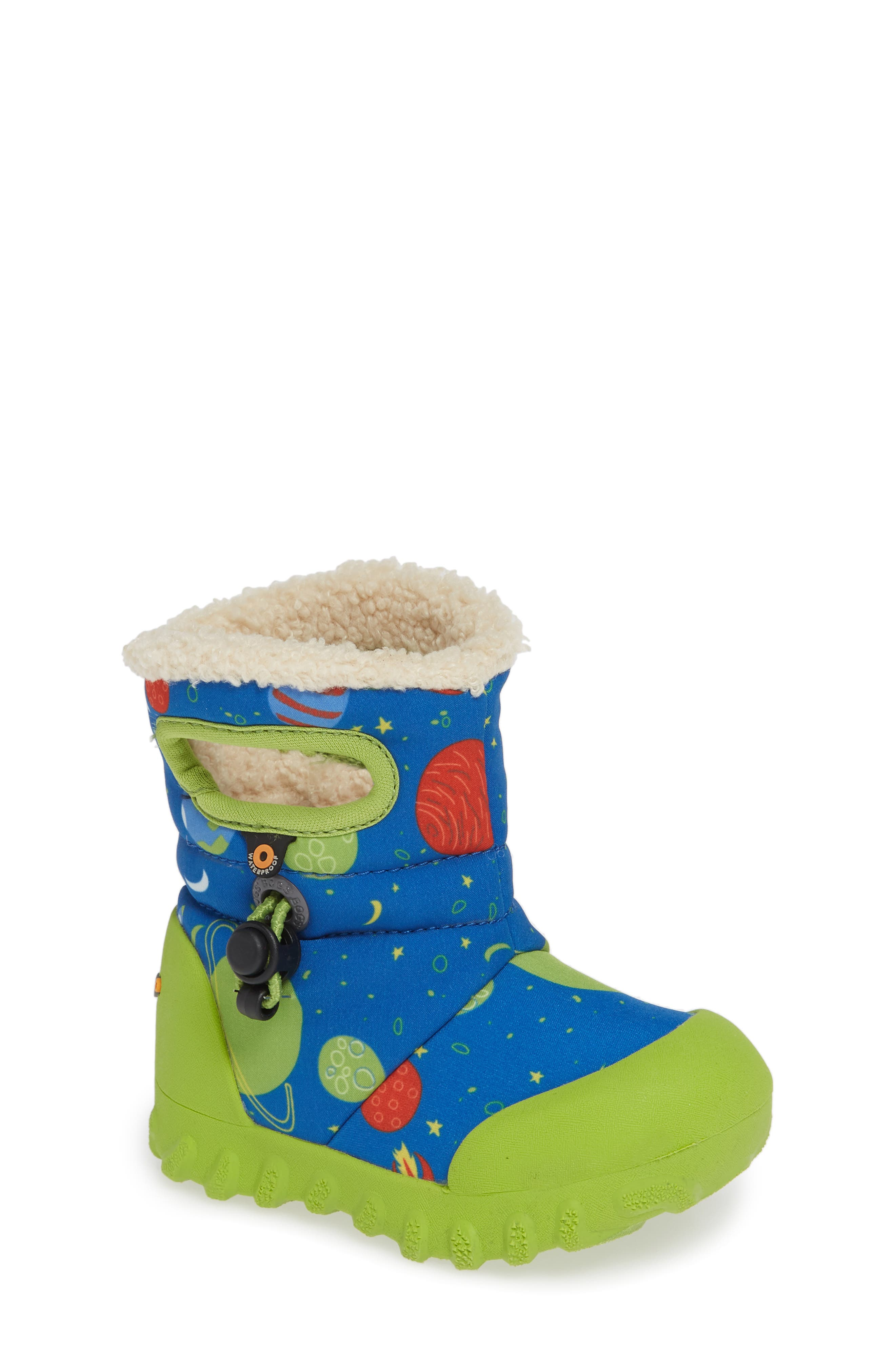 BOGS B-MOC Space Waterproof Insulated Faux Fur Boot, Main, color, BLUE MULTI