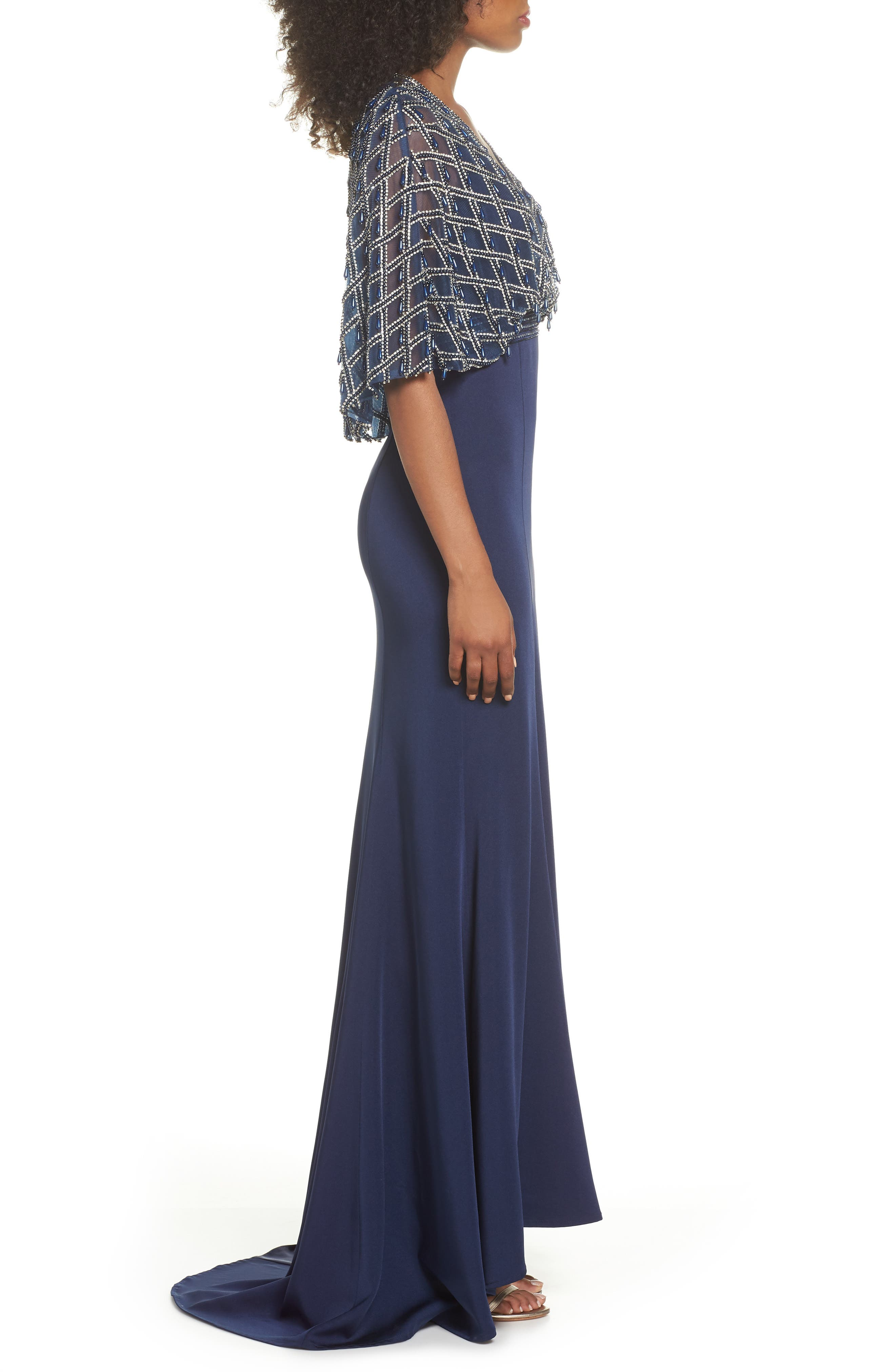 MAC DUGGAL, Plunging Beaded Gown, Alternate thumbnail 3, color, MIDNIGHT