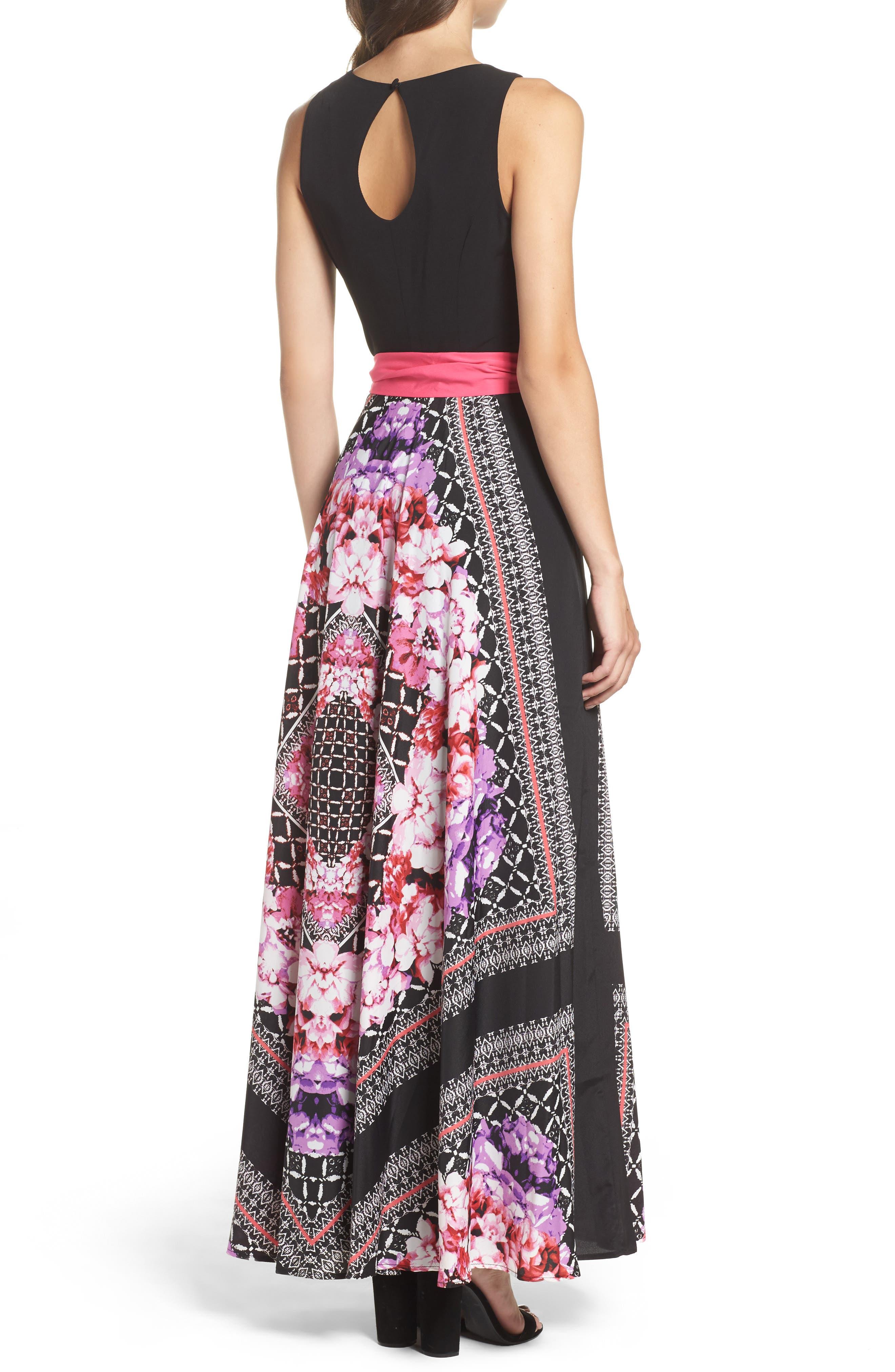 ELIZA J, Scarf Print Jersey & Crêpe de Chine Maxi Dress, Alternate thumbnail 2, color, 001