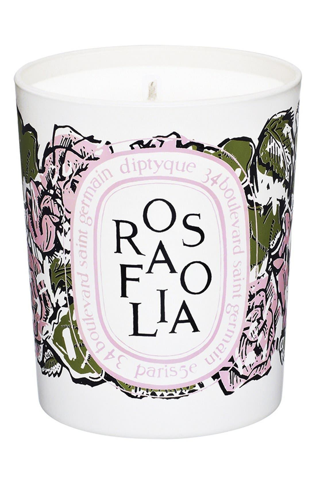 DIPTYQUE, 'Rosafolia' Candle, Main thumbnail 1, color, 000