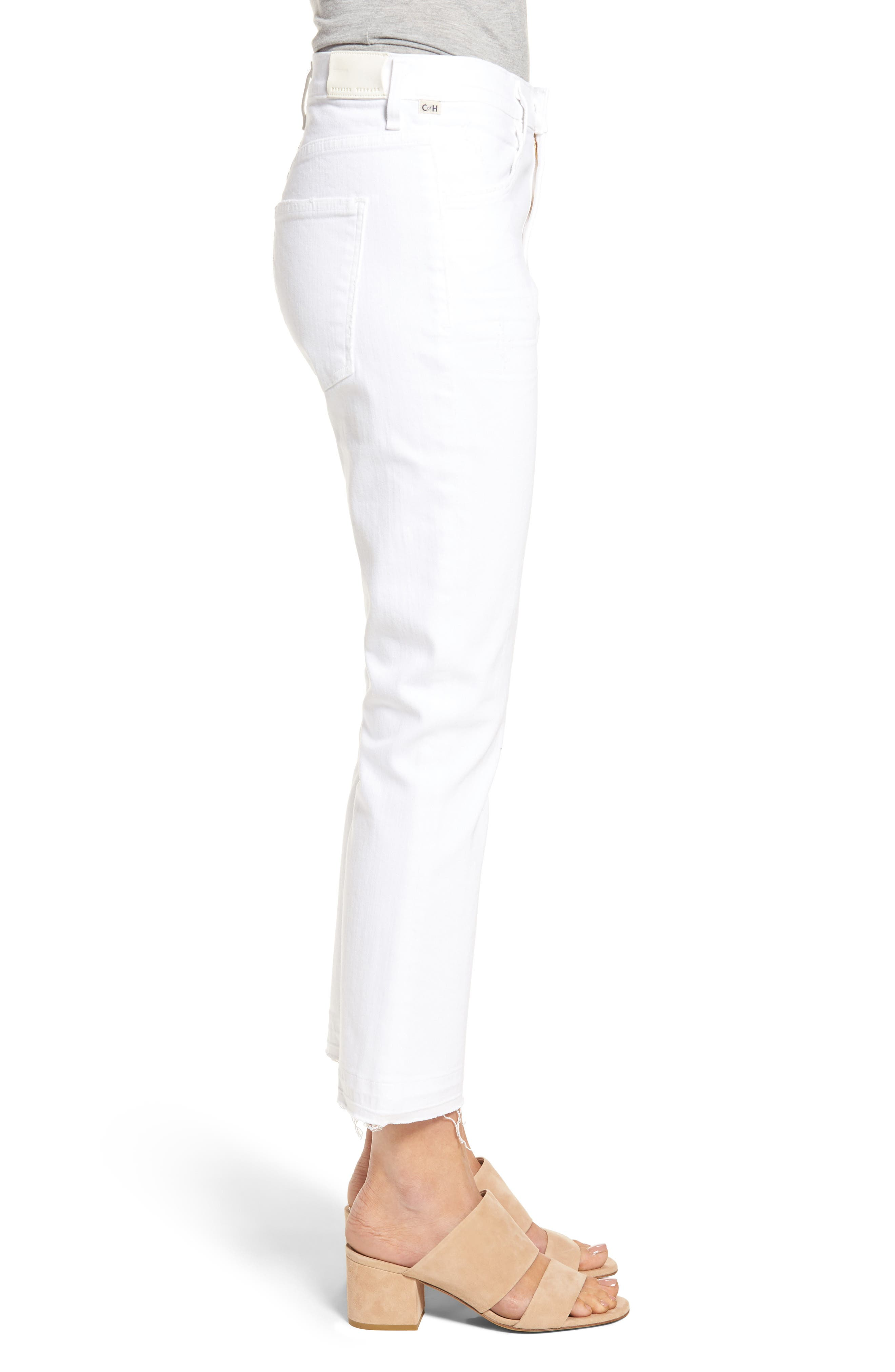CITIZENS OF HUMANITY, Drew Crop Flare Jeans, Alternate thumbnail 3, color, DISTRESSED WHITE