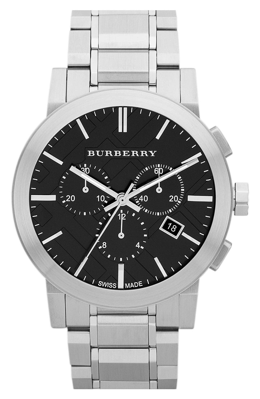 BURBERRY, Check Stamped Chronograph Bracelet Watch, 44mm, Main thumbnail 1, color, 040