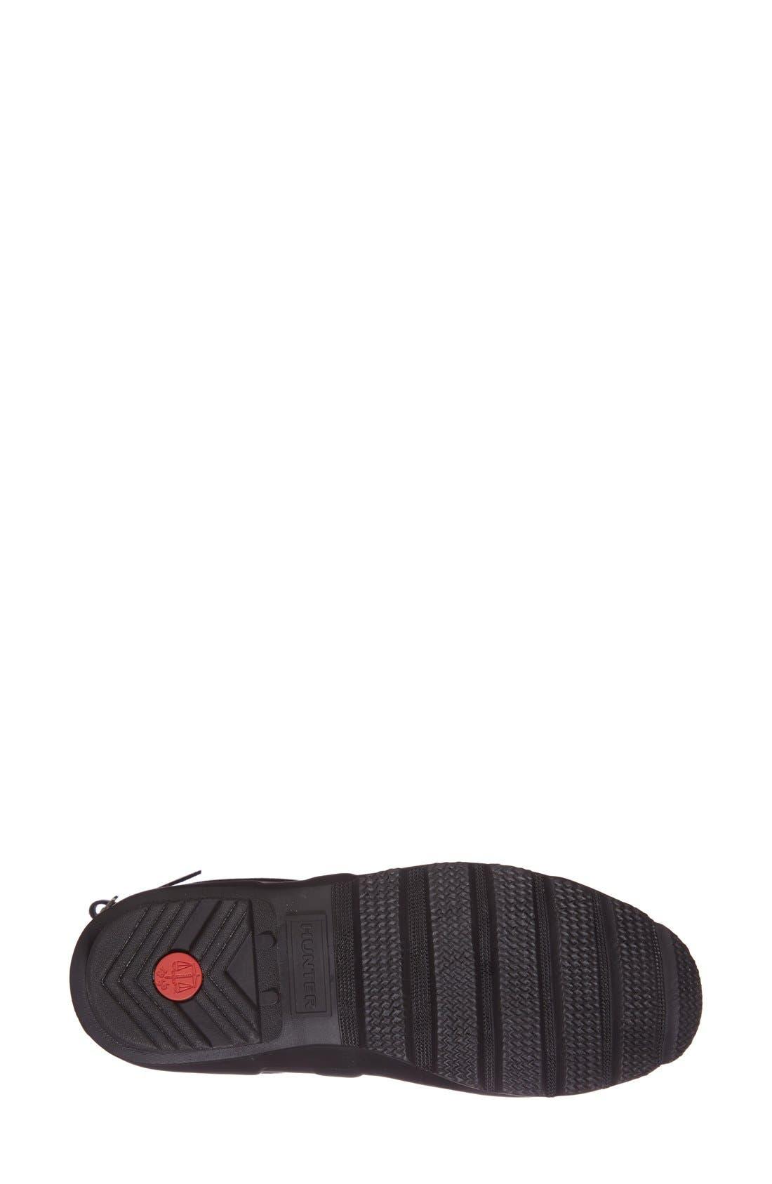 HUNTER, Original Short Back Adjustable Waterproof Rain Boot, Alternate thumbnail 4, color, BLACK