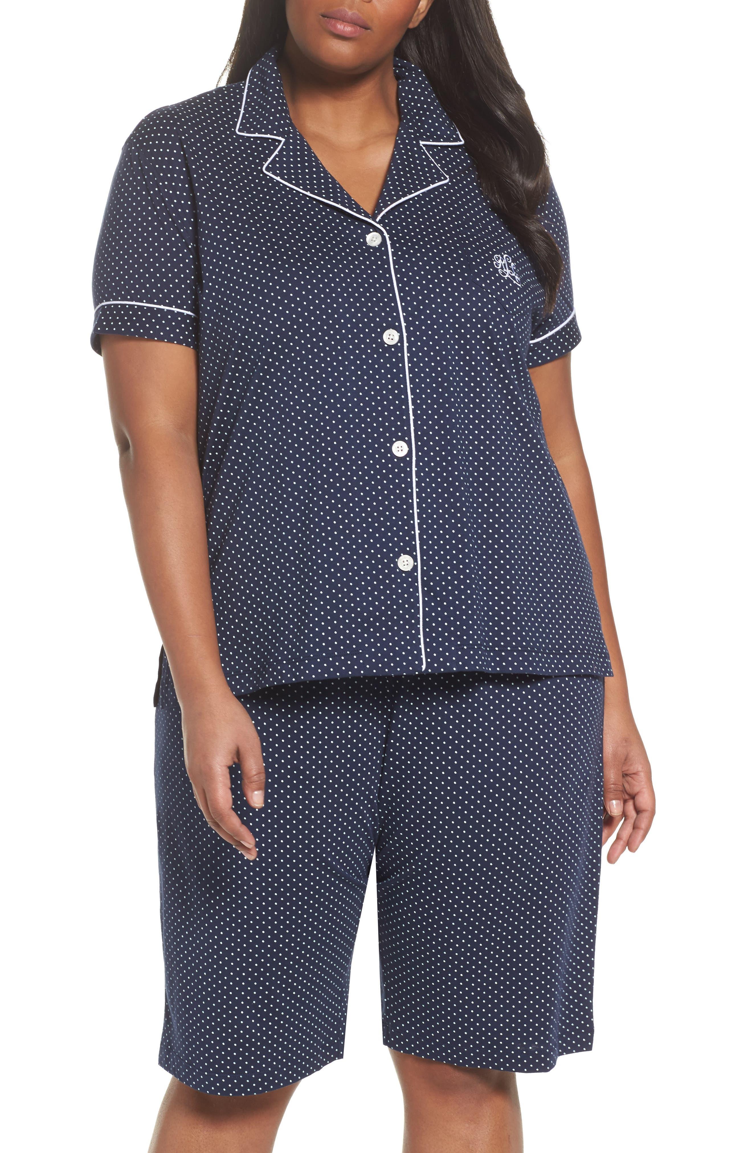 LAUREN RALPH LAUREN, Bermuda Pajamas, Main thumbnail 1, color, NAVY DOT