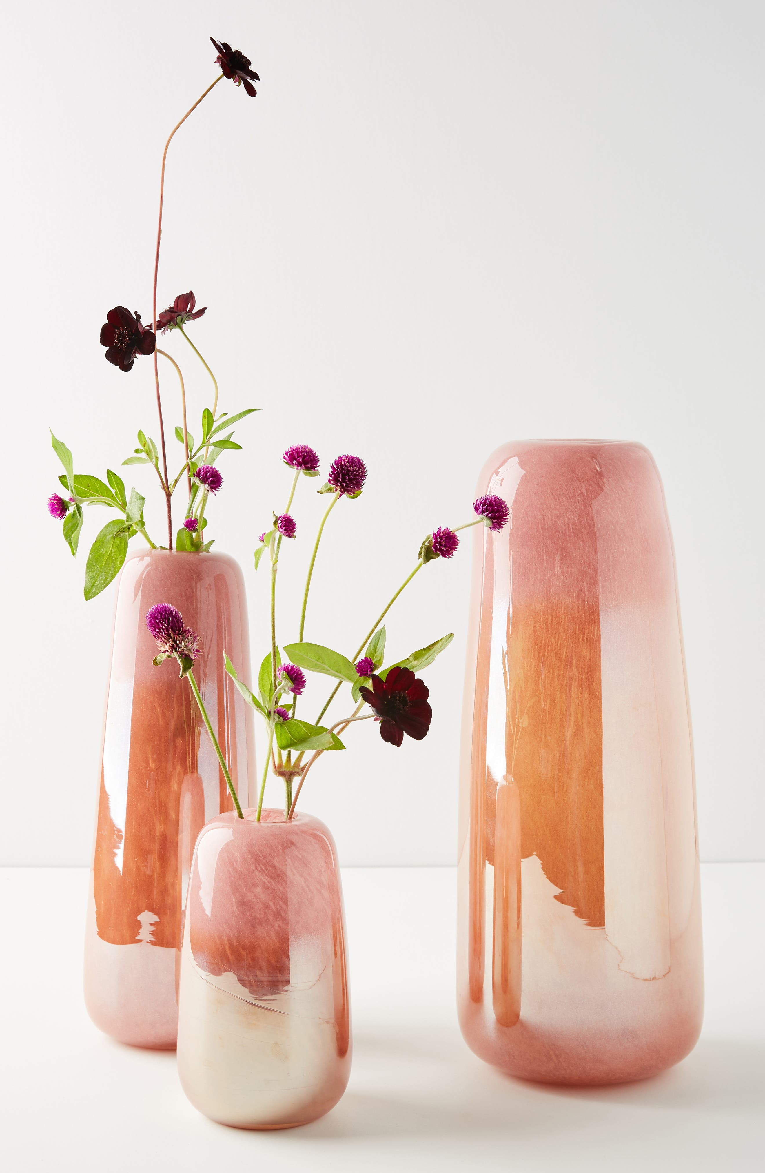 ANTHROPOLOGIE Soren Glass Vase, Main, color, PINK GOLD-SMALL