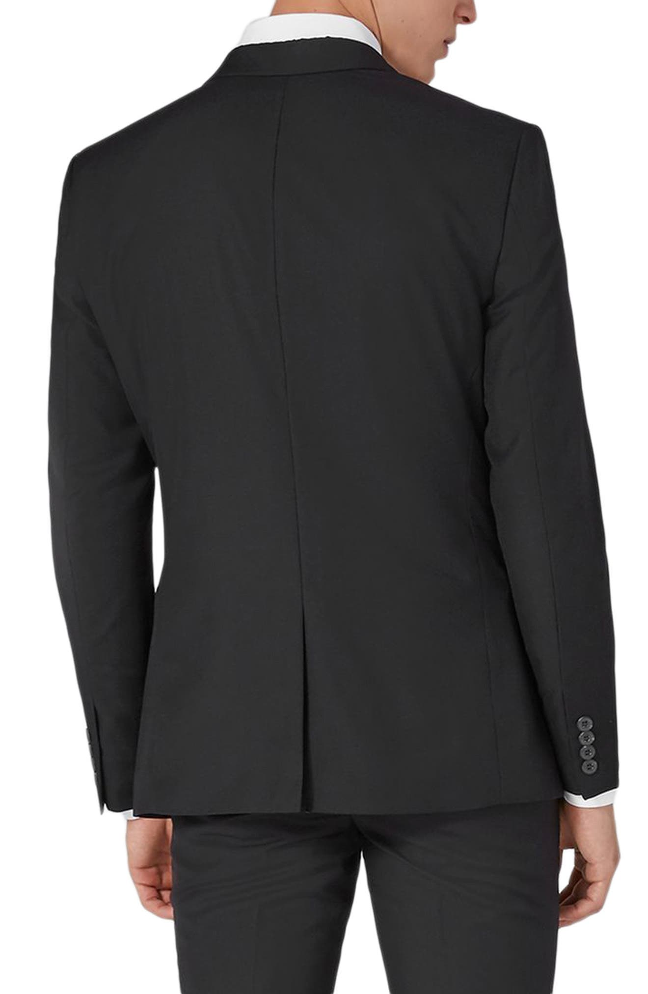 TOPMAN, Skinny Fit One-Button Suit Jacket, Alternate thumbnail 2, color, BLACK
