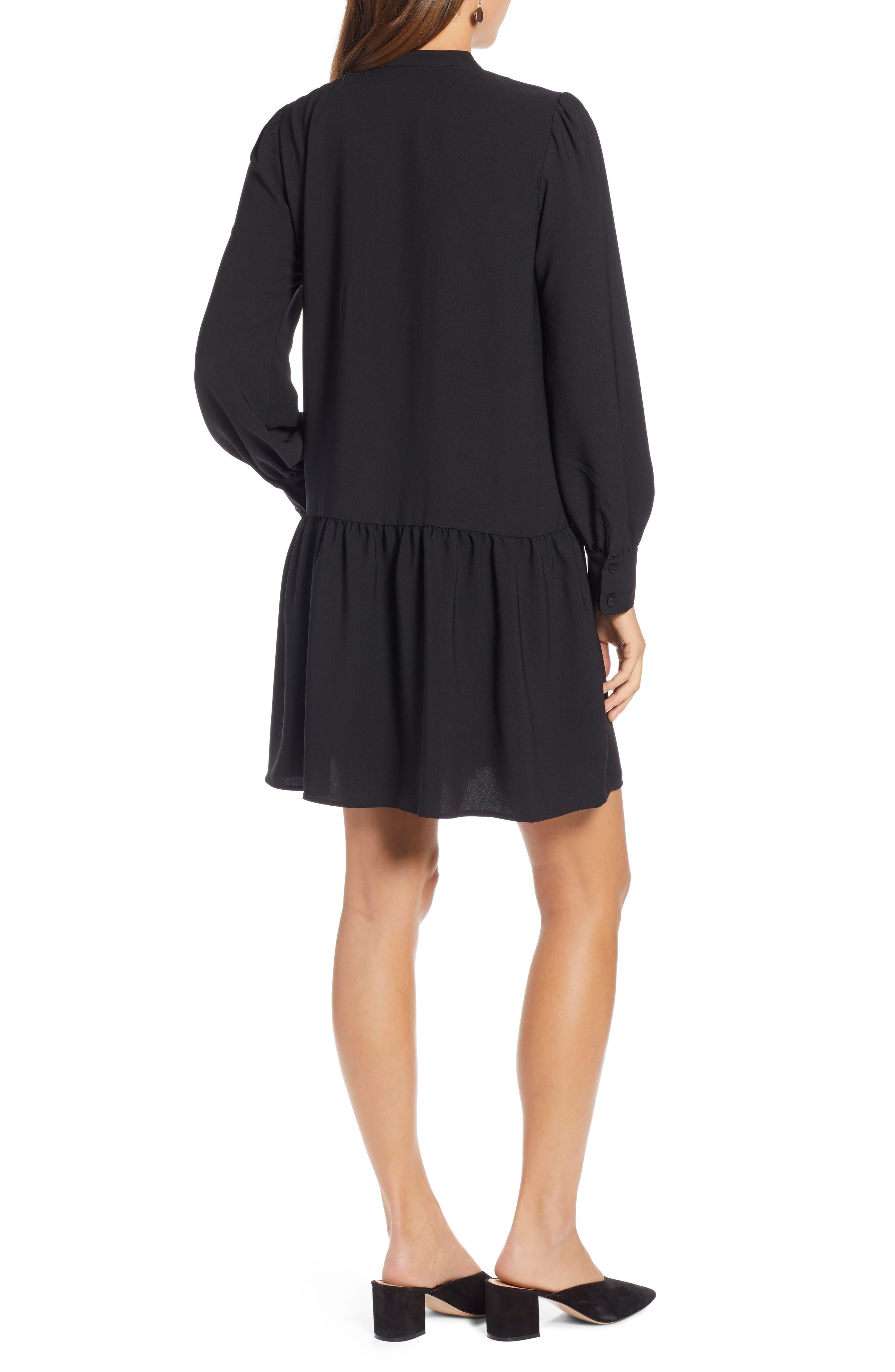 HALOGEN<SUP>®</SUP>, Pintuck Detail Shift Dress, Alternate thumbnail 2, color, BLACK