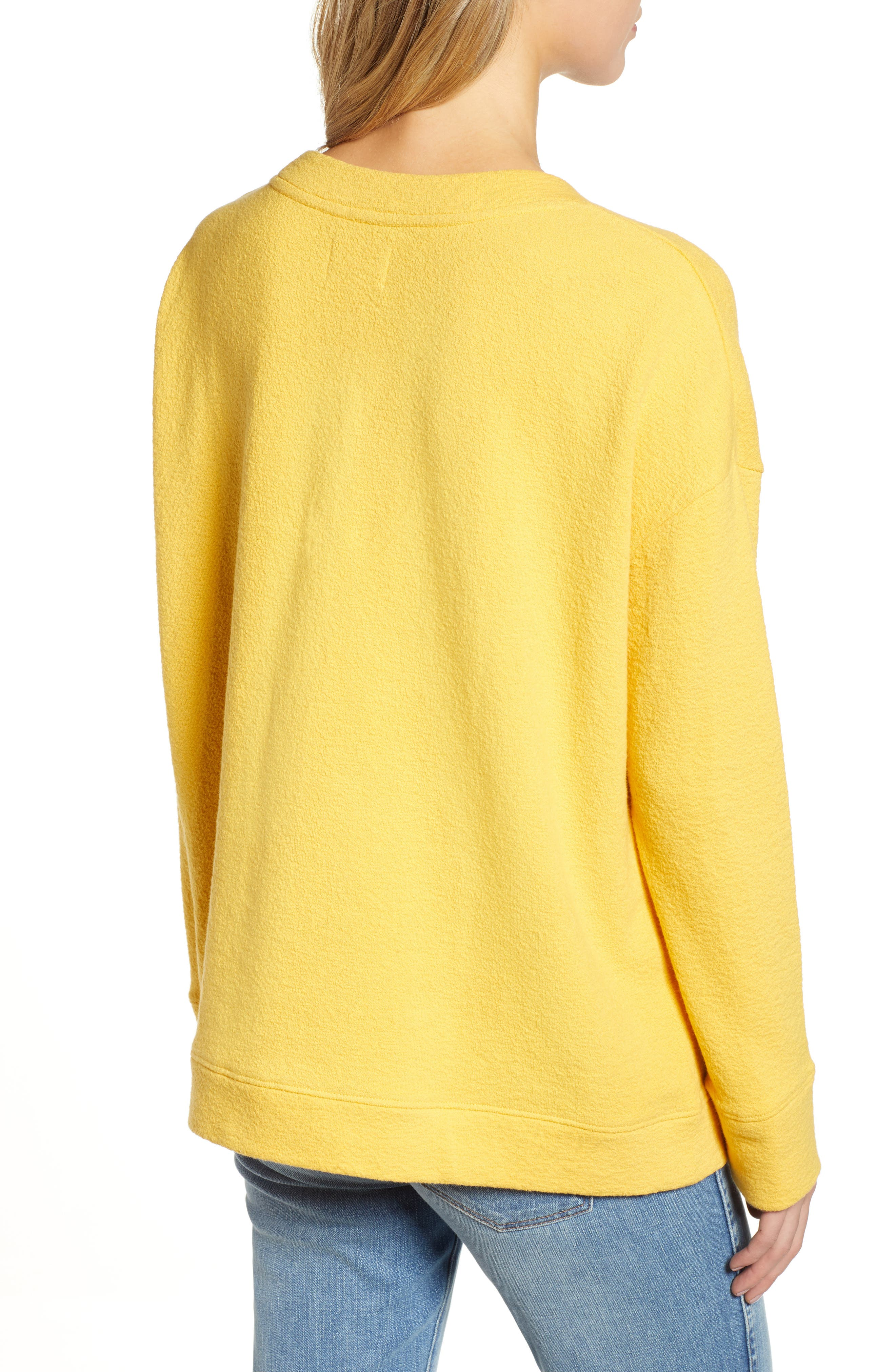 CASLON<SUP>®</SUP>, Side Slit Relaxed Sweatshirt, Alternate thumbnail 2, color, YELLOW WHIP