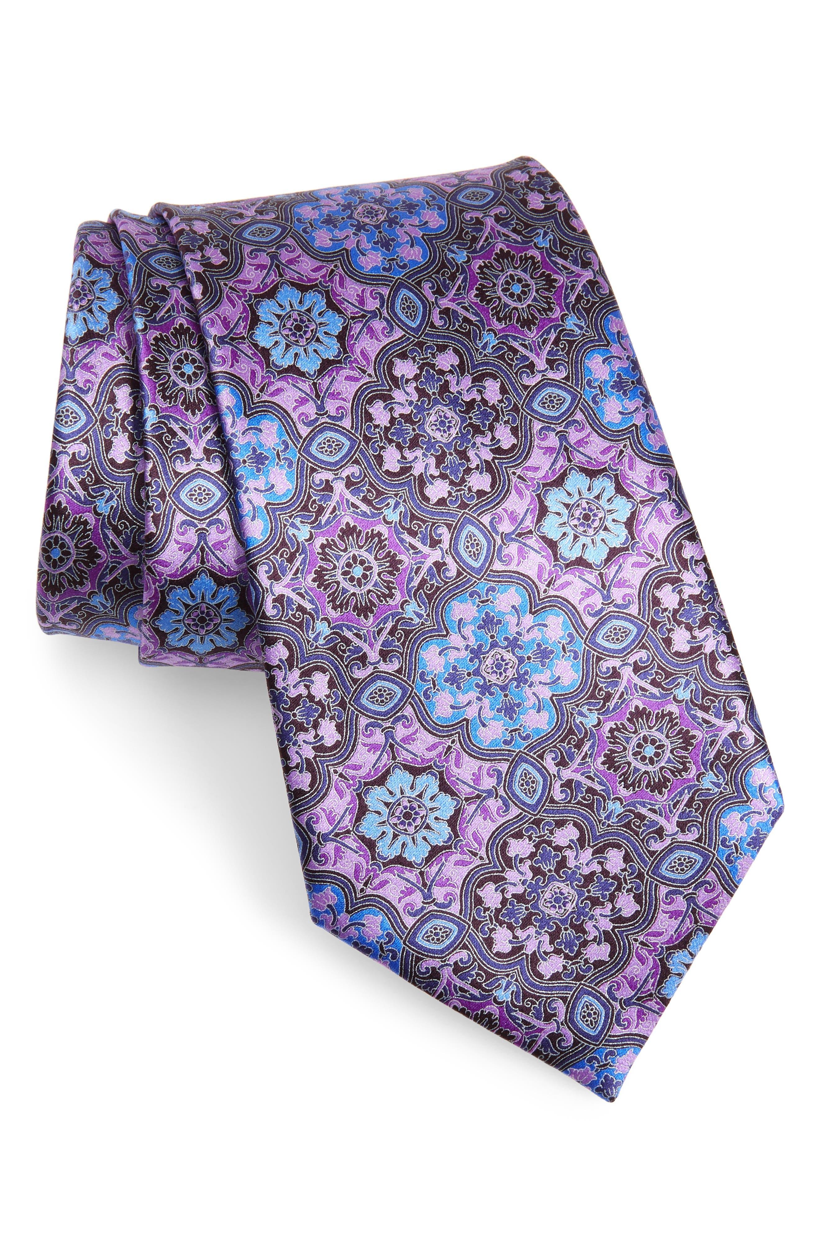 ERMENEGILDO ZEGNA Medallion Silk Tie, Main, color, PURPLE