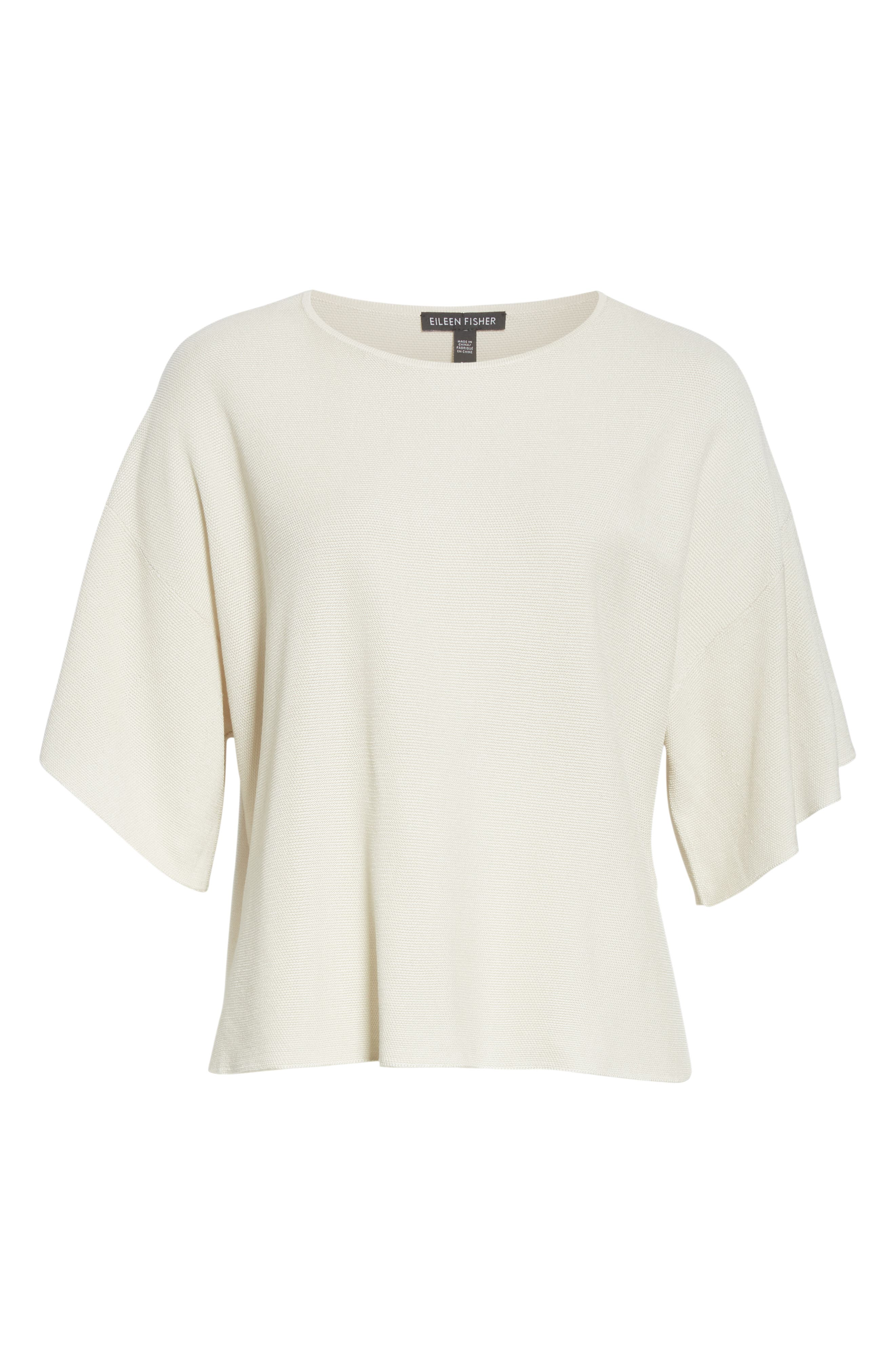 EILEEN FISHER, Elbow Sleeve Top, Alternate thumbnail 6, color, 100