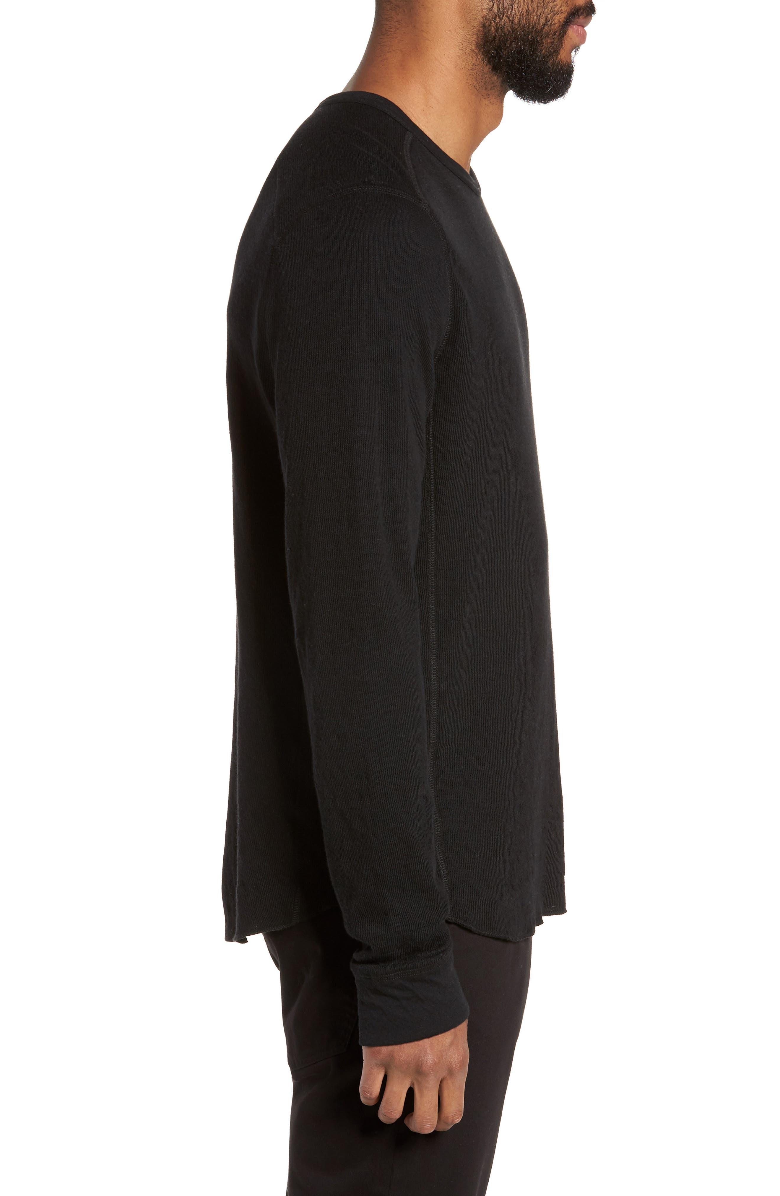 VINCE, Double Knit Long Sleeve T-Shirt, Alternate thumbnail 3, color, BLACK
