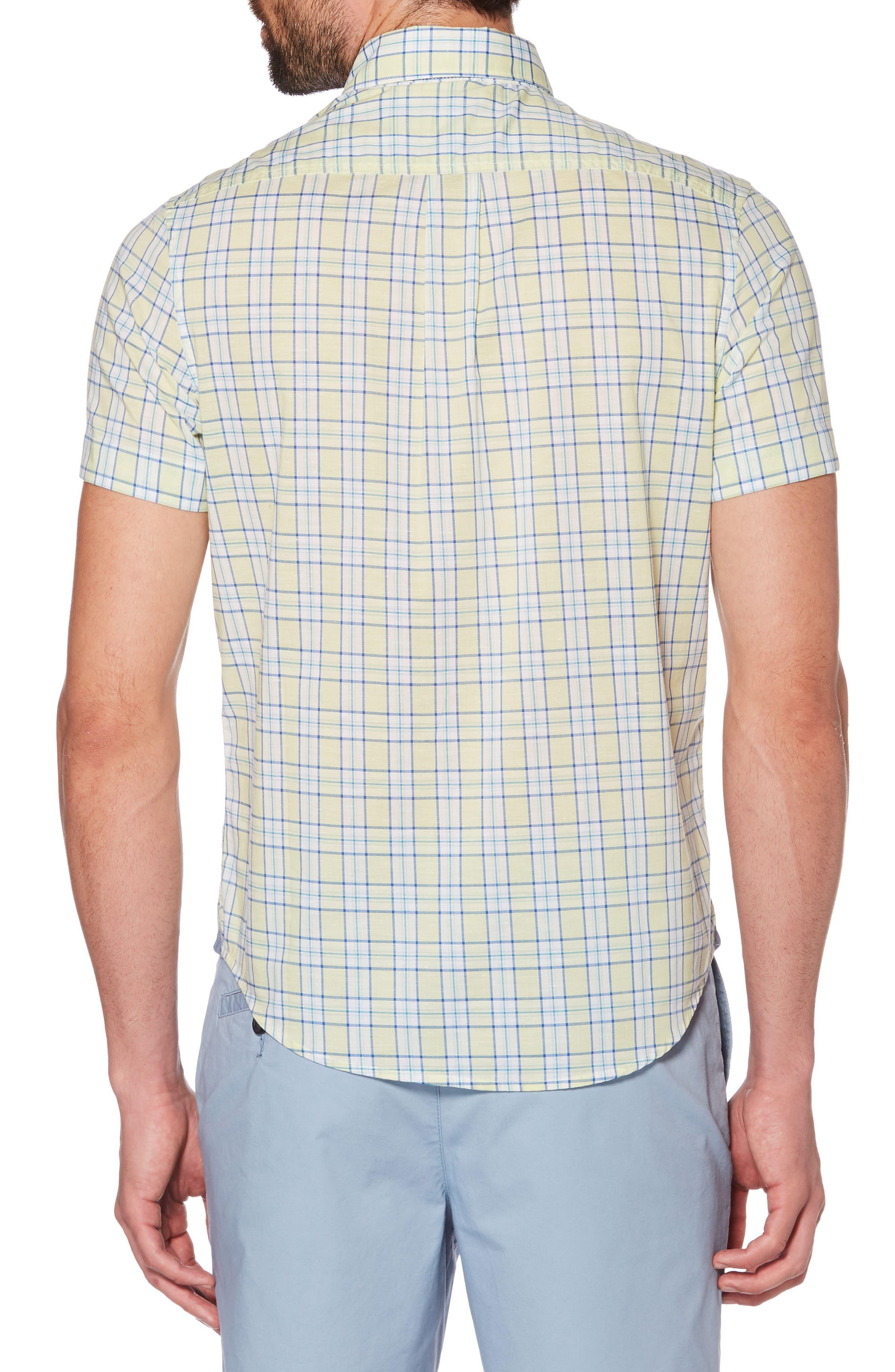ORIGINAL PENGUIN, Heritage Slim Fit Stretch Plaid Shirt, Alternate thumbnail 2, color, BUTTERFLY