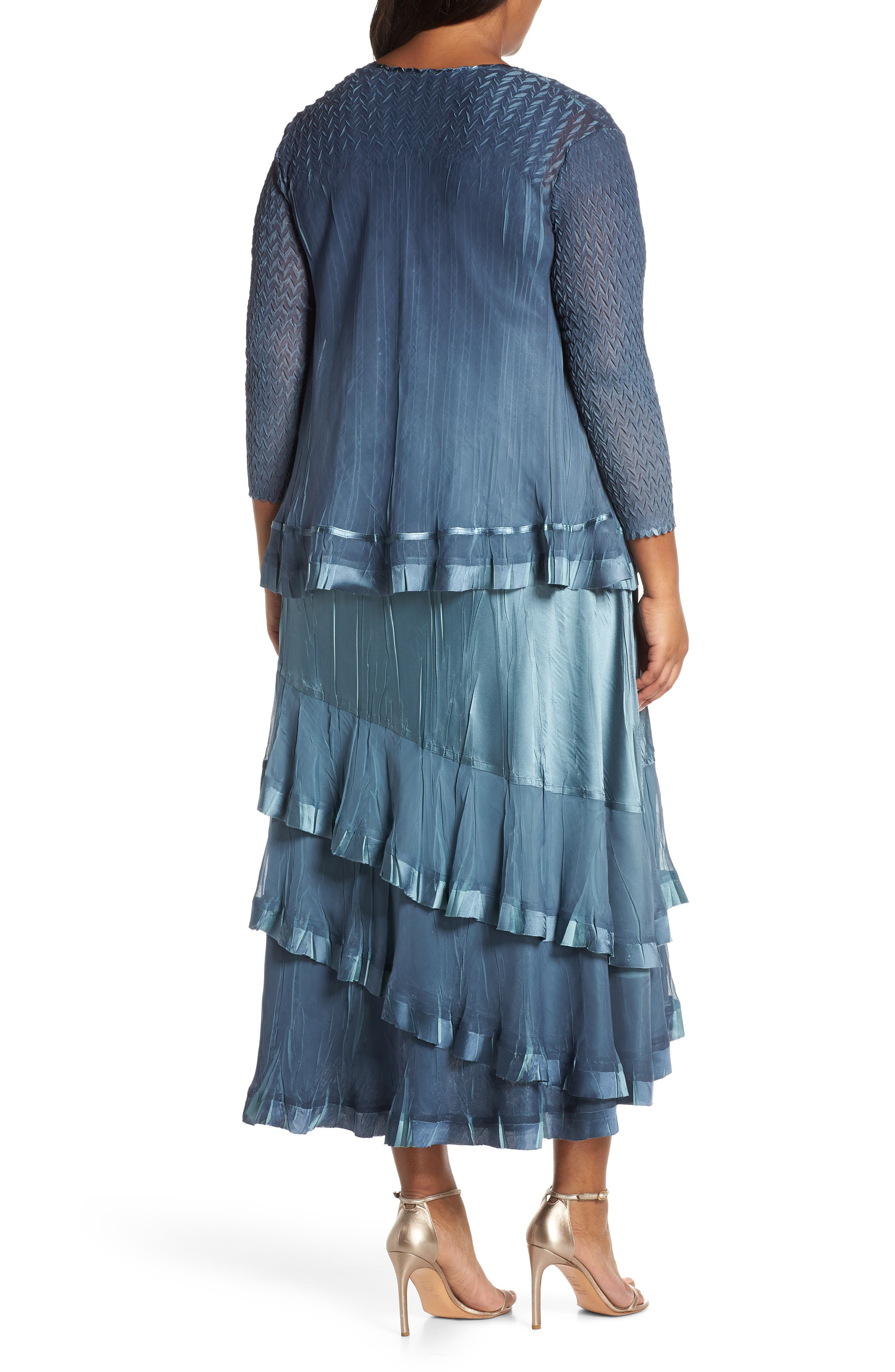 KOMAROV, Charmeuse Cocktail Dress with Jacket, Alternate thumbnail 2, color, SILVER BLUE OMBRE
