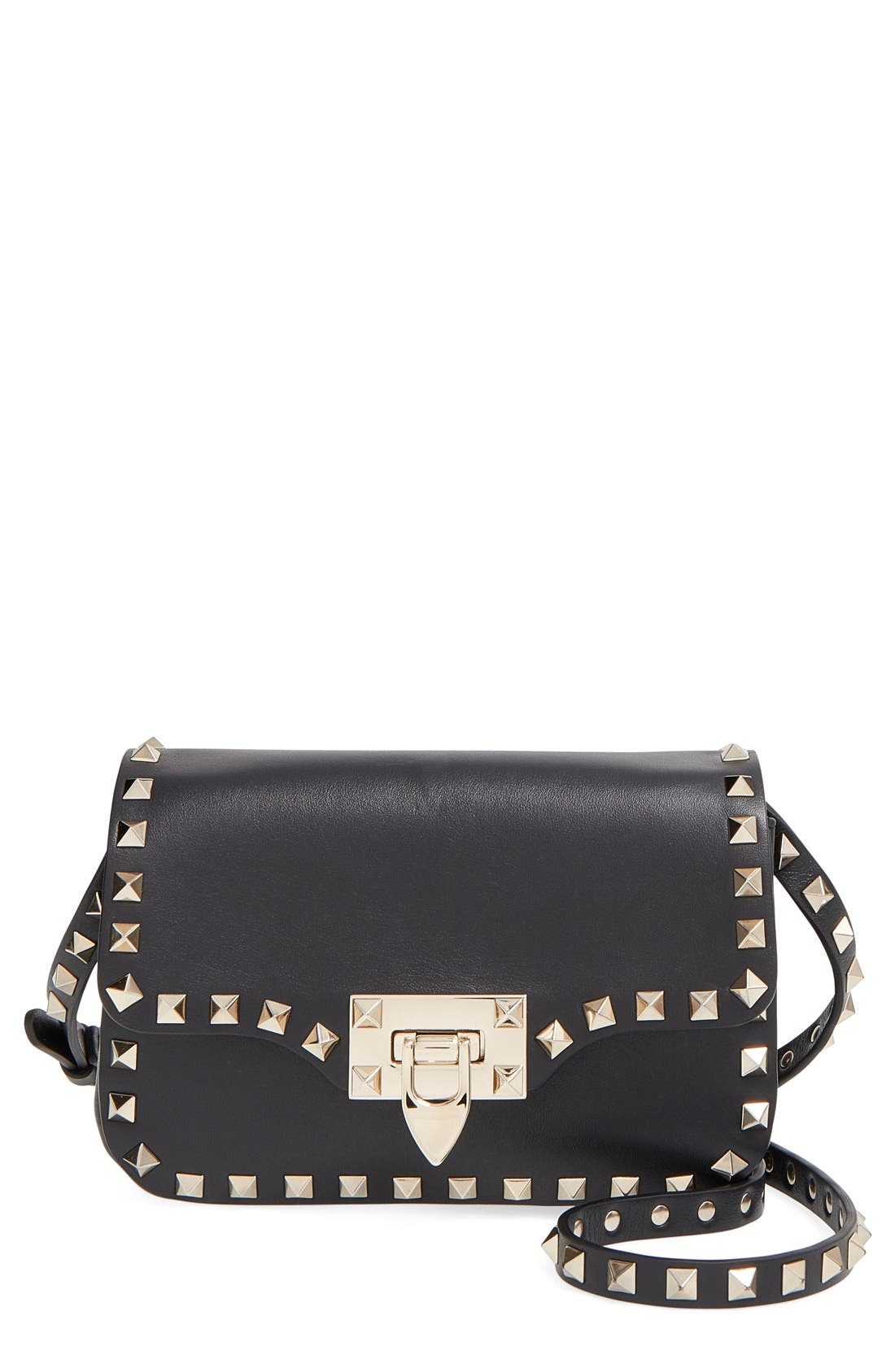 VALENTINO 'Mini Rockstud' Crossbody Bag, Main, color, 001