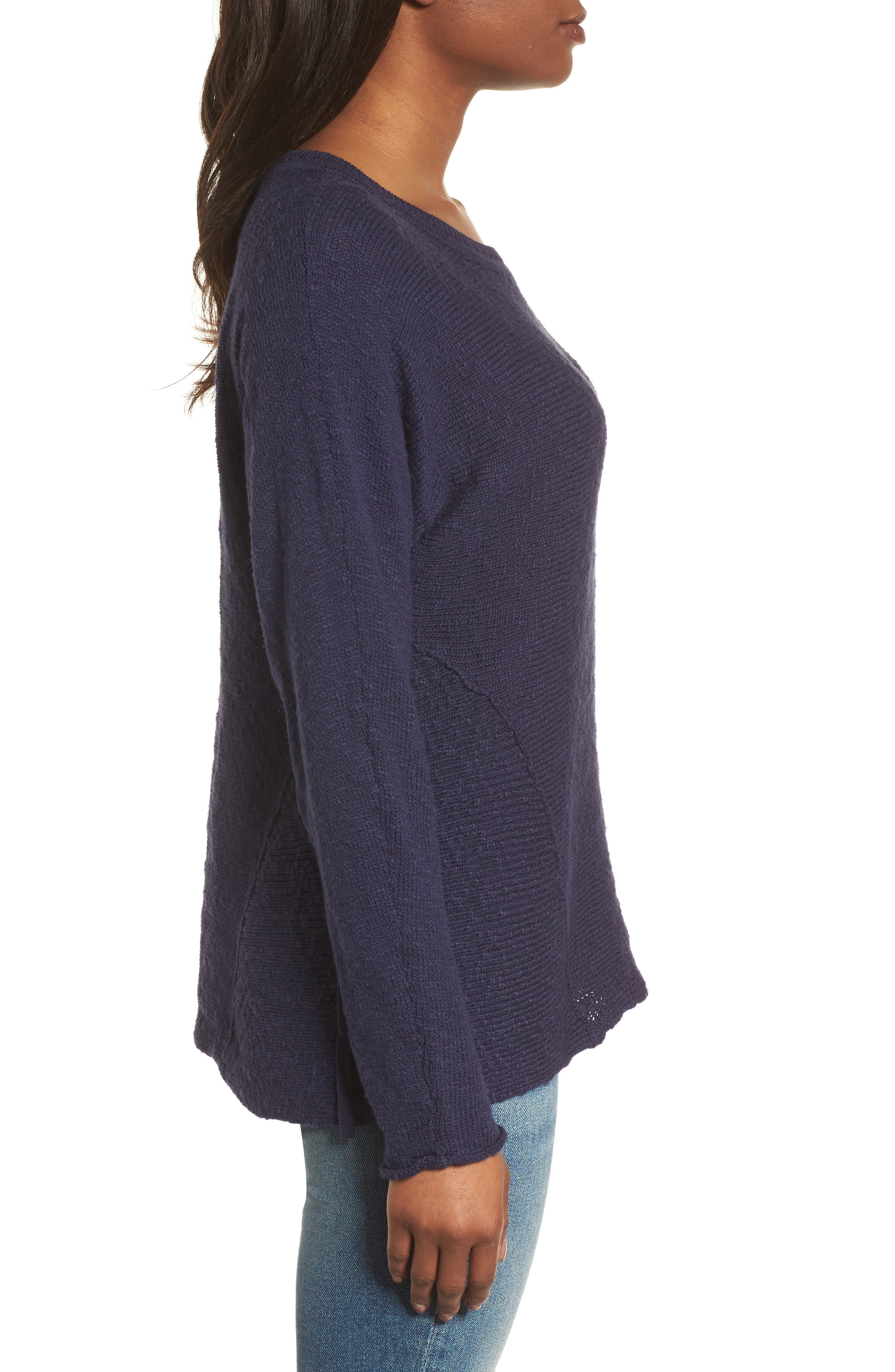 CASLON<SUP>®</SUP>, Mix Stitch Swing Cotton Sweater, Alternate thumbnail 3, color, NAVY PEACOAT