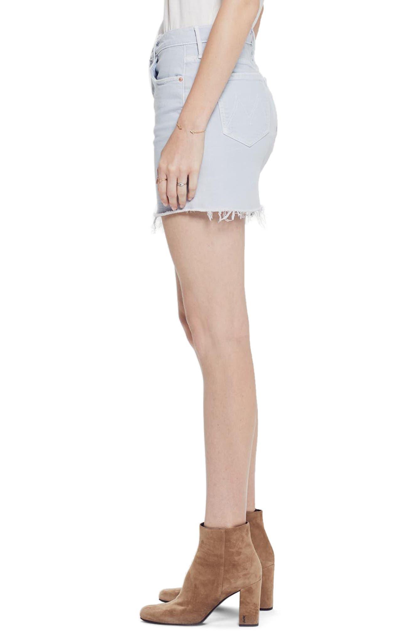 MOTHER, The Vagabond Cutoff Denim Miniskirt, Alternate thumbnail 3, color, 450