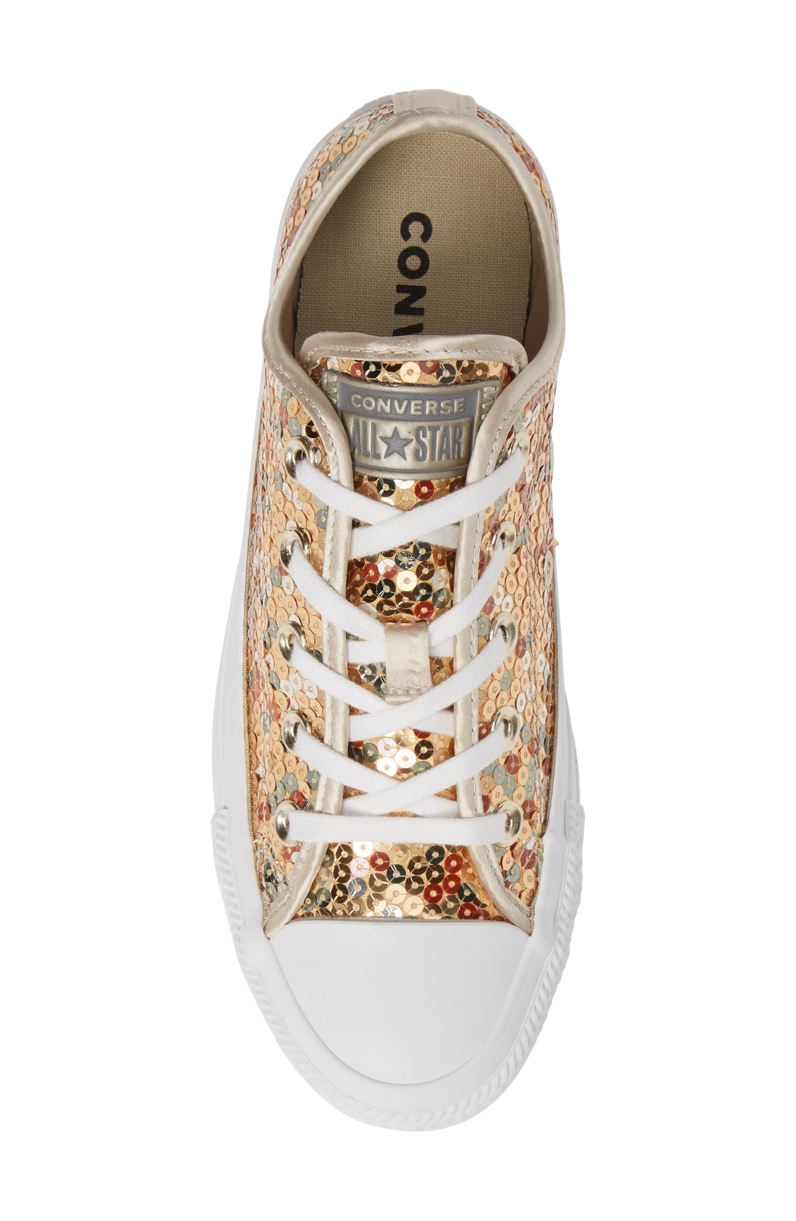 CONVERSE, Chuck Taylor<sup>®</sup> All Star<sup>®</sup> Sequin Low Top Sneaker, Alternate thumbnail 5, color, GOLD SEQUINS