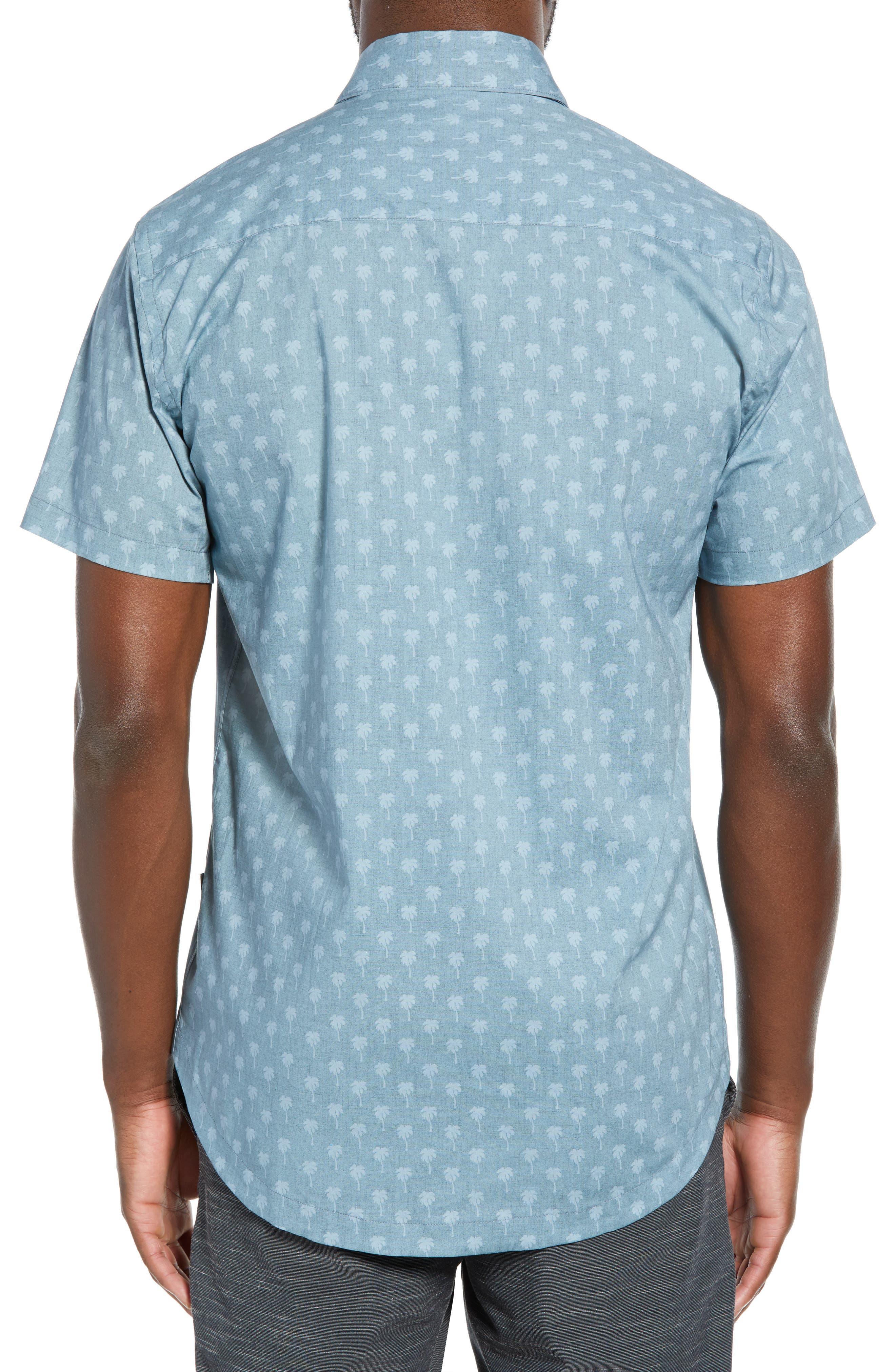 DEVEREUX, Cabana Regular Fit Sport Shirt, Alternate thumbnail 3, color, PALMS