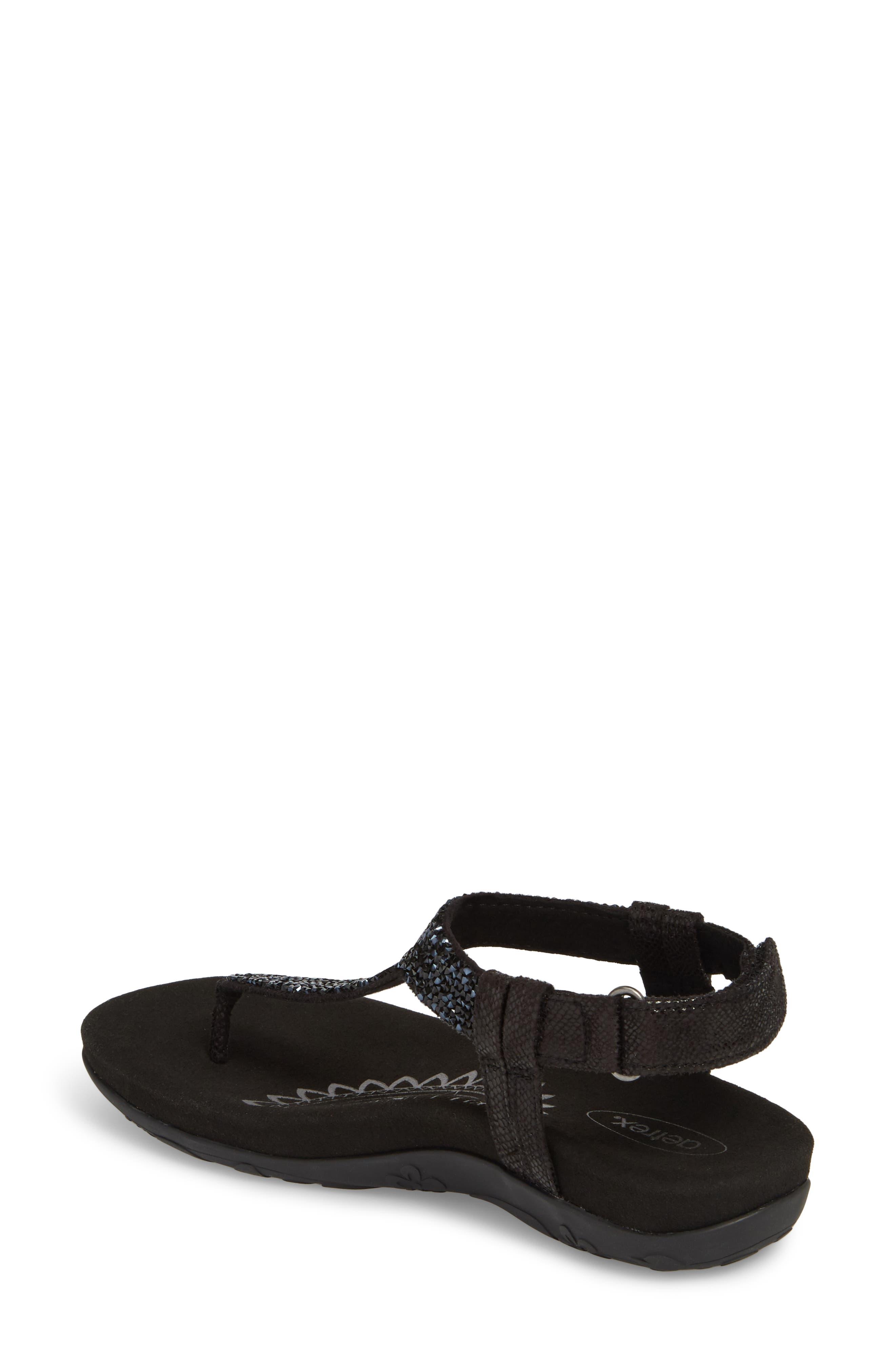 AETREX, Jade Embellished T-Strap Sandal, Alternate thumbnail 2, color, BLACK LEATHER