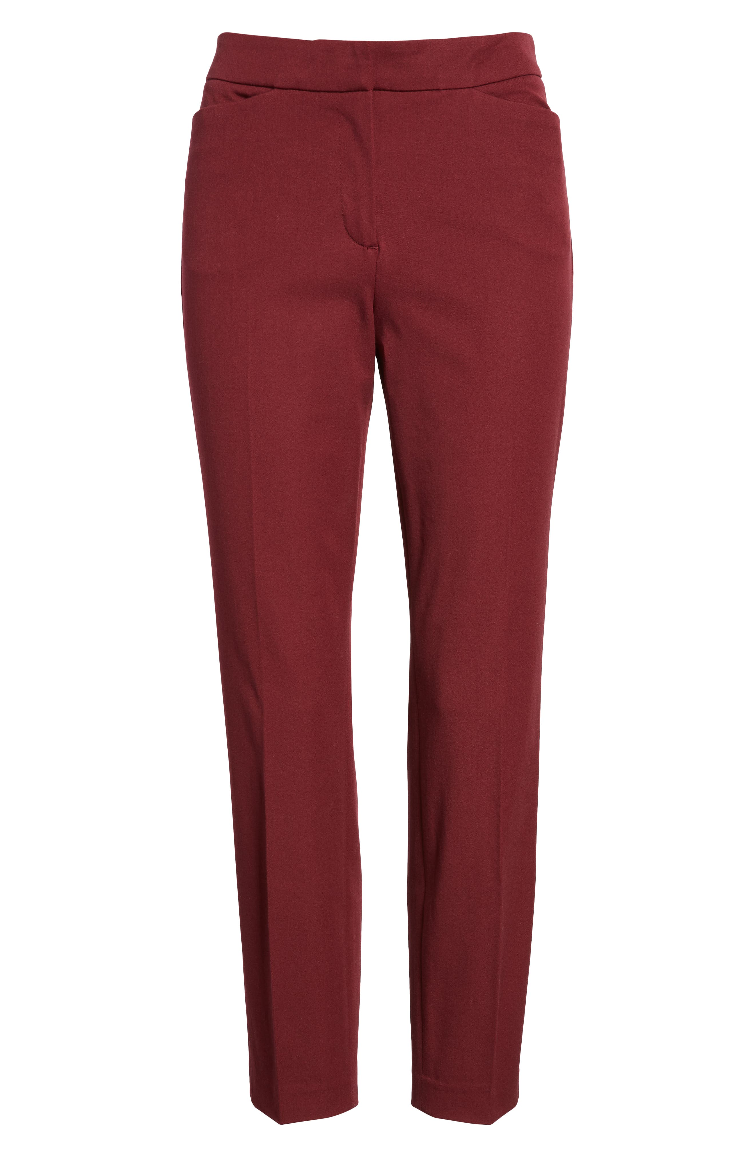 HALOGEN<SUP>®</SUP>, Ankle Pants, Alternate thumbnail 7, color, RED TANNIN