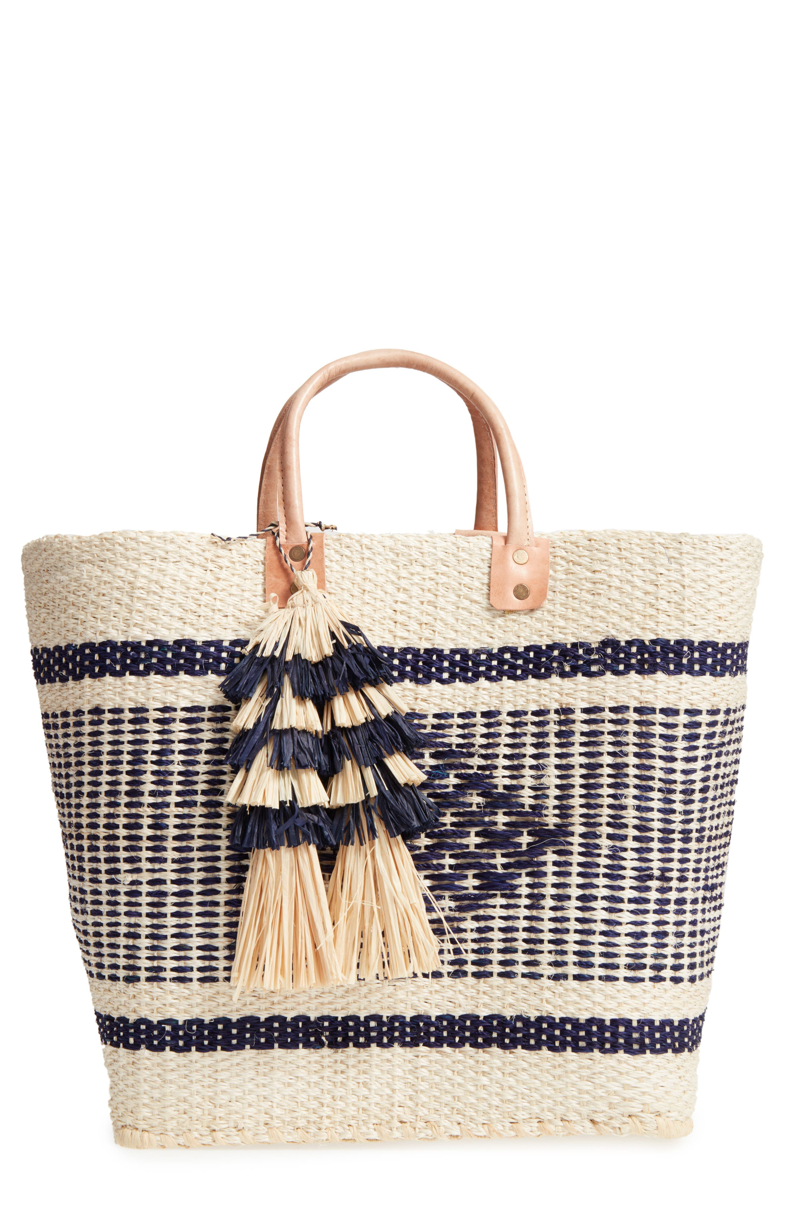 MAR Y SOL 'Ibiza' Woven Tote with Tassel Charms, Main, color, 200
