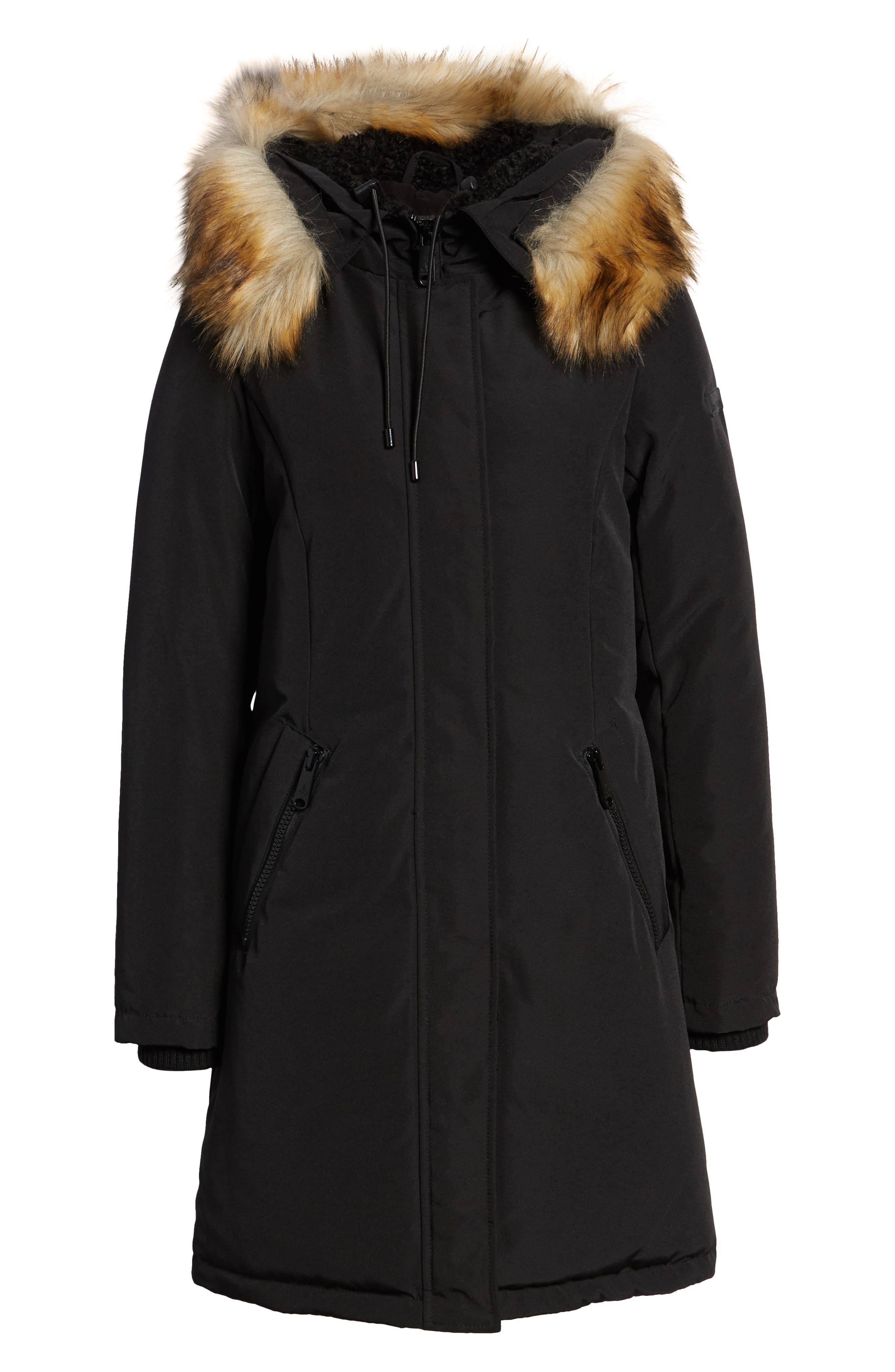 SAM EDELMAN, Faux Fur Trim Down Jacket, Alternate thumbnail 6, color, 001