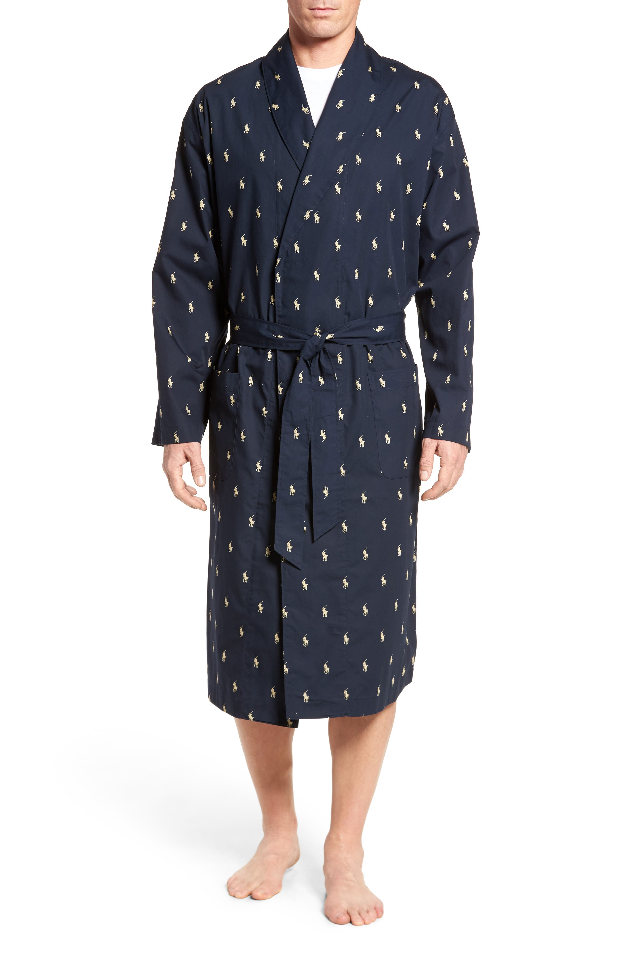 POLO RALPH LAUREN, 'Polo Player' Cotton Robe, Main thumbnail 1, color, 410