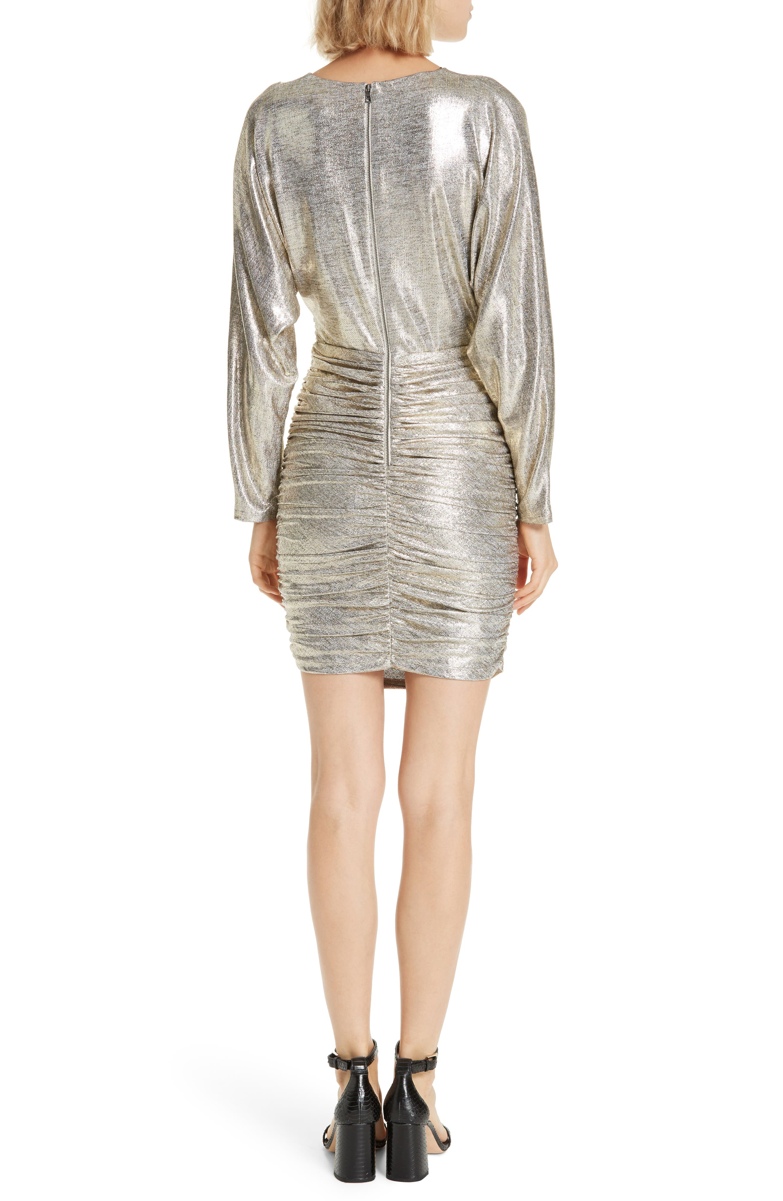 ALICE + OLIVIA, Pace Batwing Sleeve Party Dress, Alternate thumbnail 2, color, SILVER