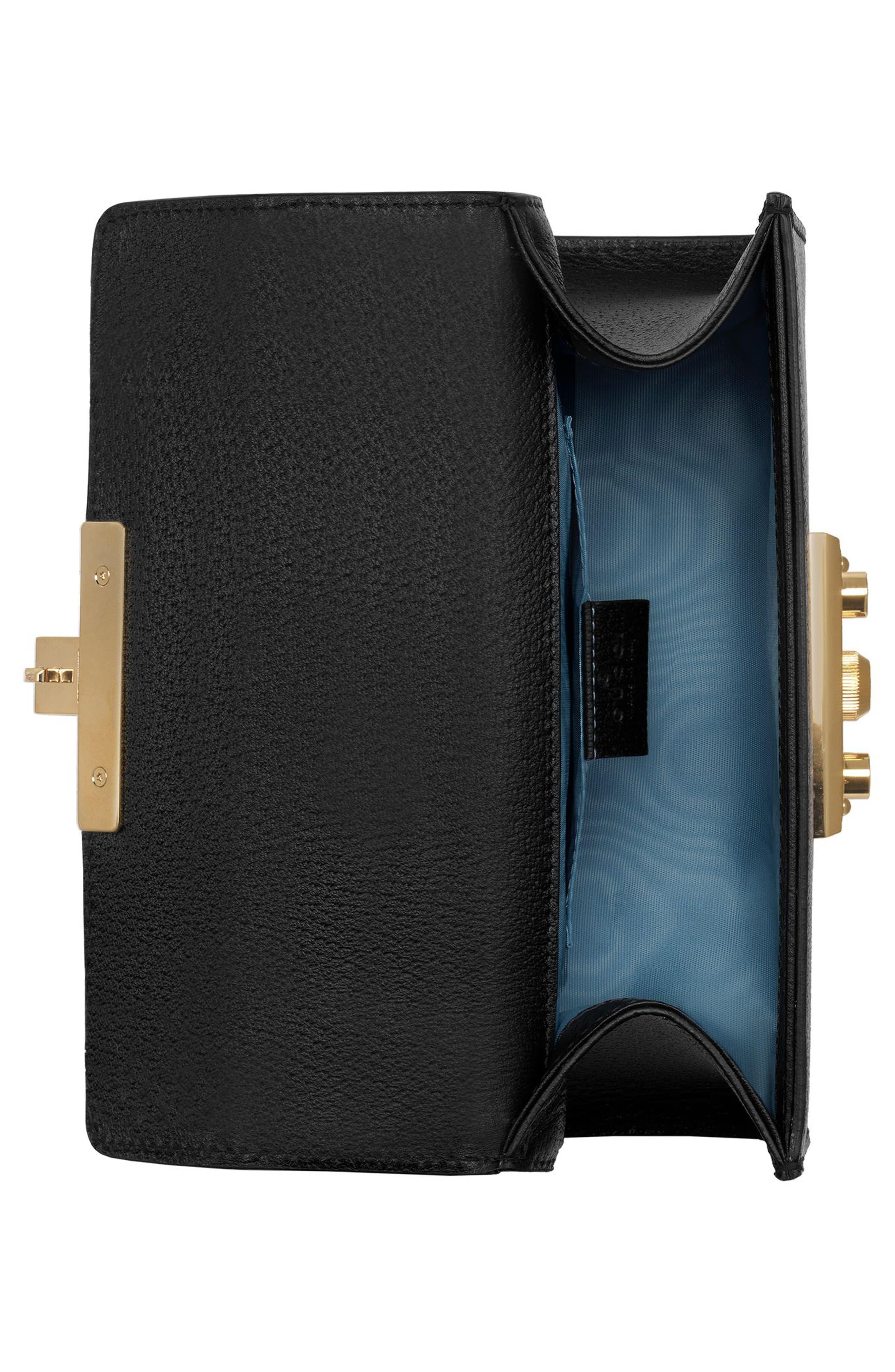 GUCCI, Mini Padlock Leather Shoulder Bag, Alternate thumbnail 3, color, NERO/ ORO