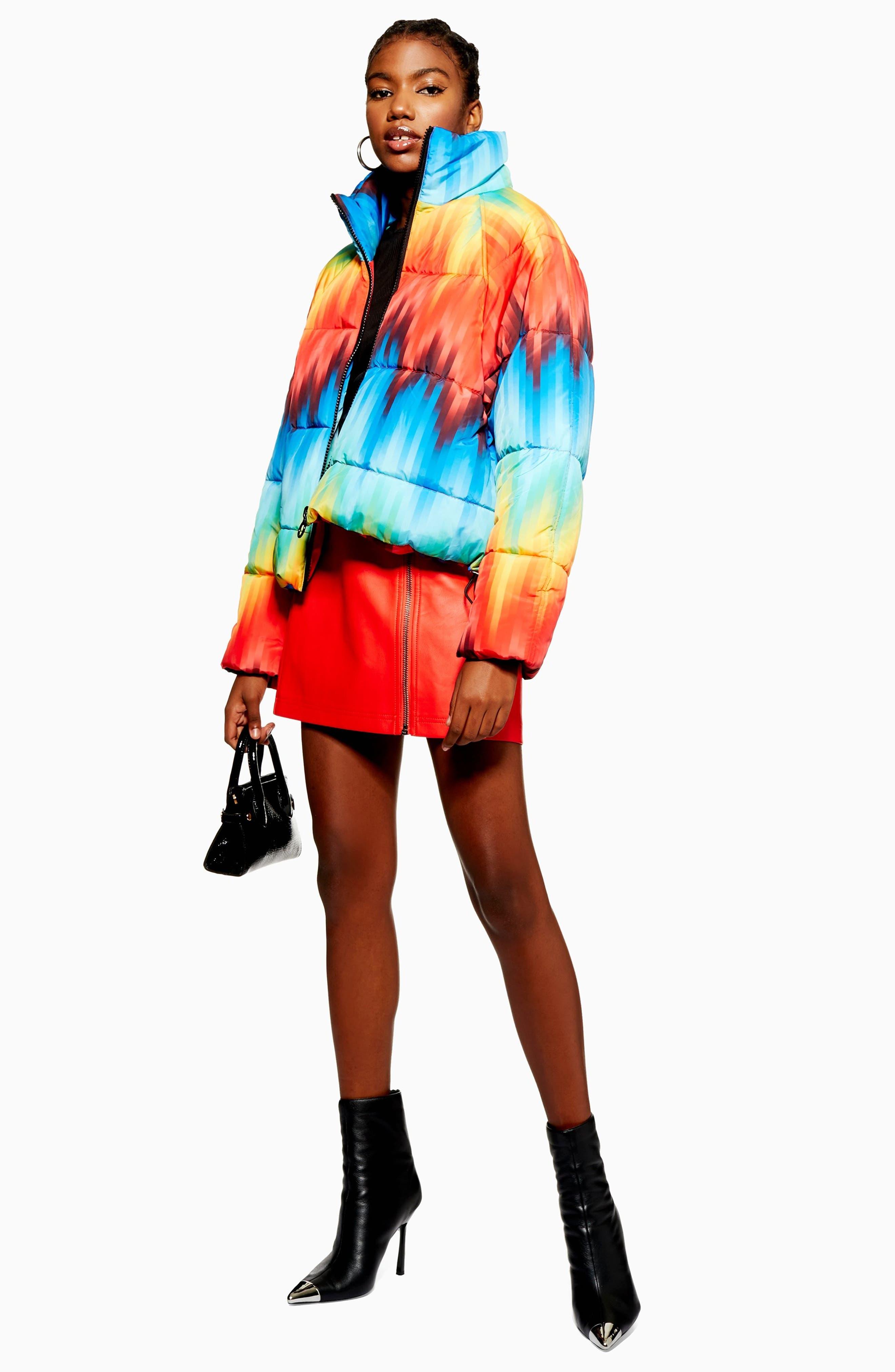 TOPSHOP, Rainbow Puffer Jacket, Alternate thumbnail 4, color, 460