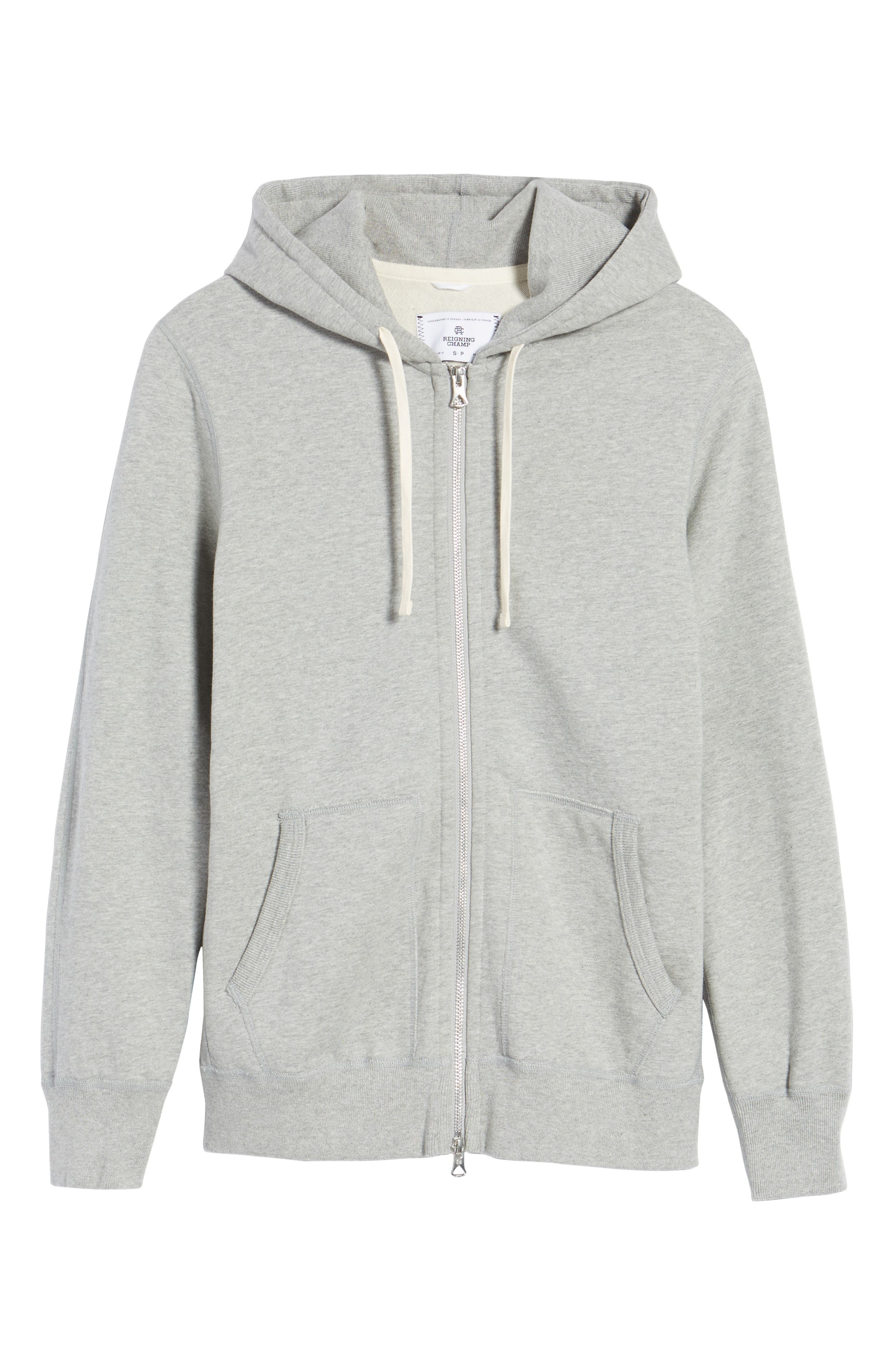 REIGNING CHAMP, Trim Fit Full Zip Hoodie, Main thumbnail 1, color, HEATHER GREY