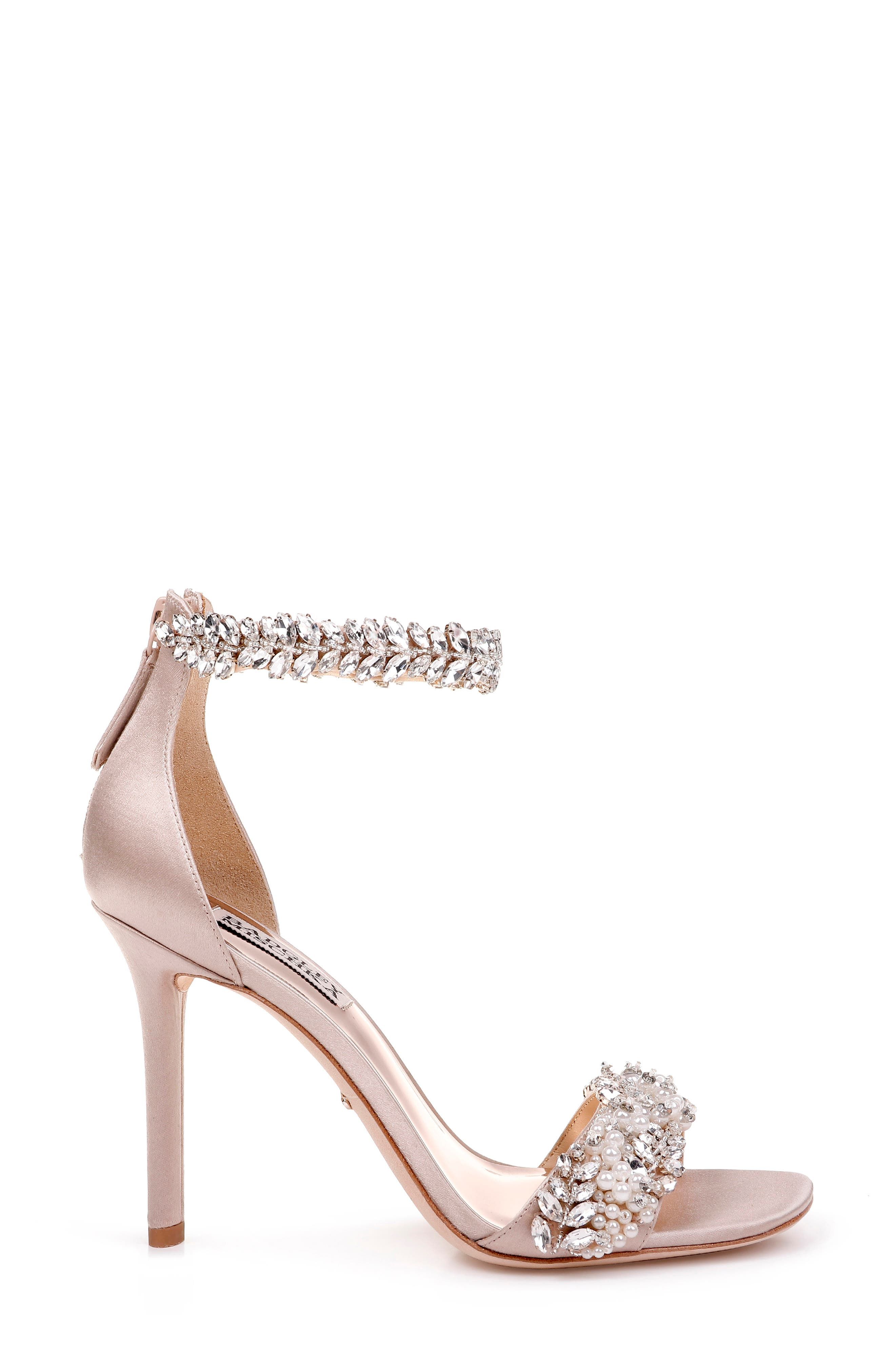 BADGLEY MISCHKA COLLECTION, Badgley Mischka Fiorenza Crystal & Imitation Pearl Embellished Sandal, Alternate thumbnail 3, color, BEIGE SATIN