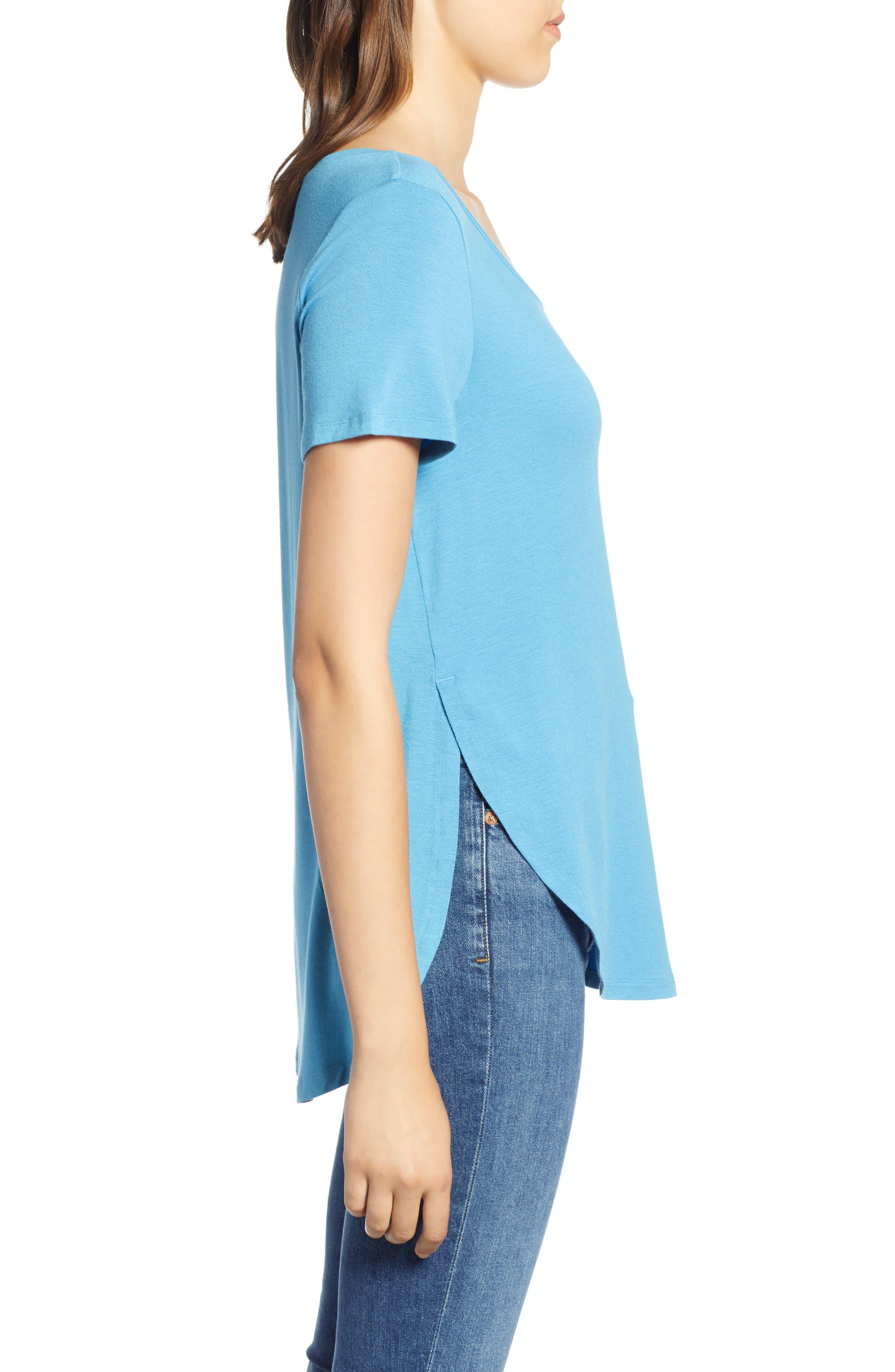 HALOGEN<SUP>®</SUP>, Short Sleeve Shirttail Tee, Alternate thumbnail 3, color, BLUE CENDRE