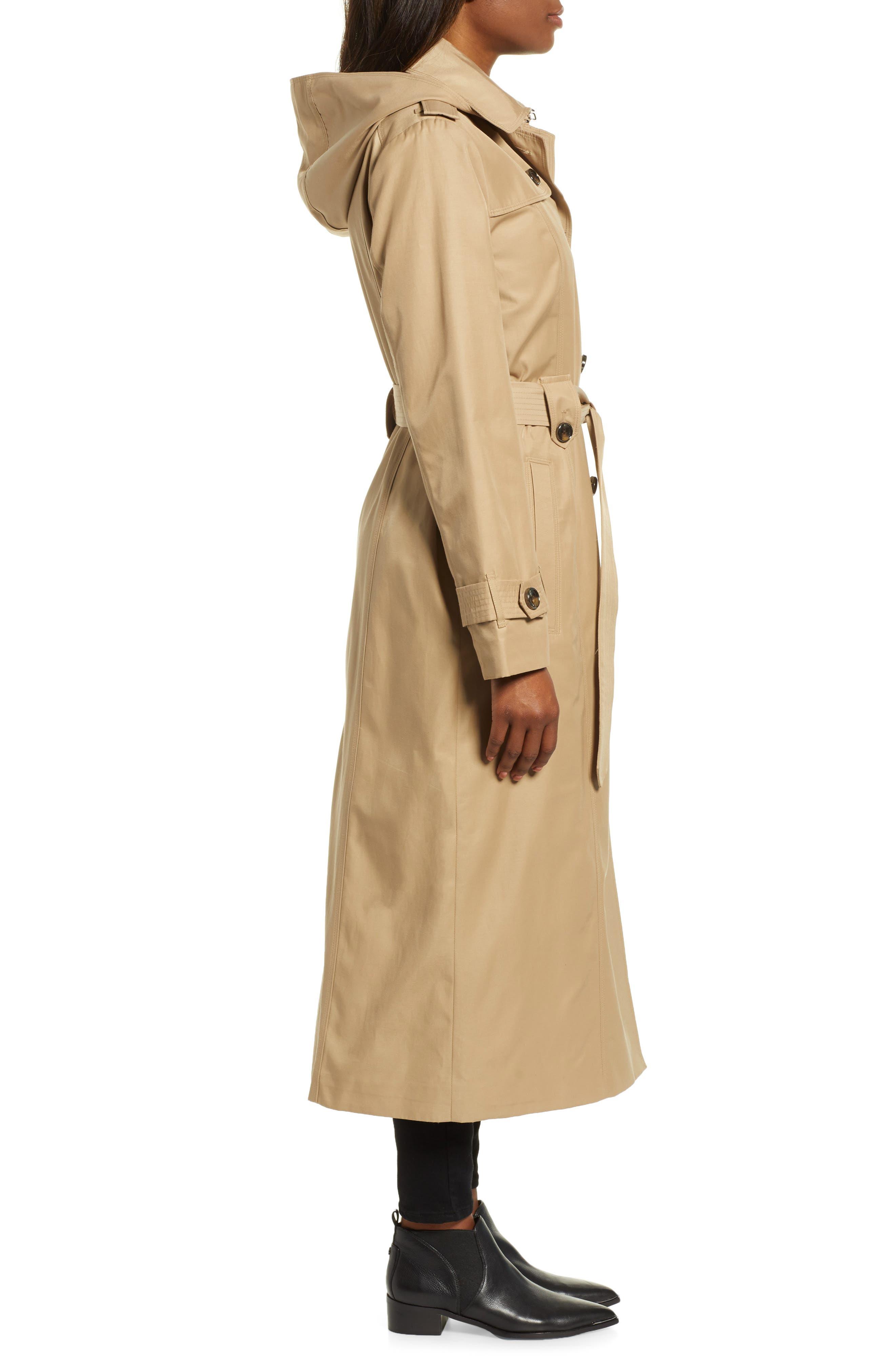 LONDON FOG, Jill Long Trench Coat, Alternate thumbnail 4, color, KHAKI