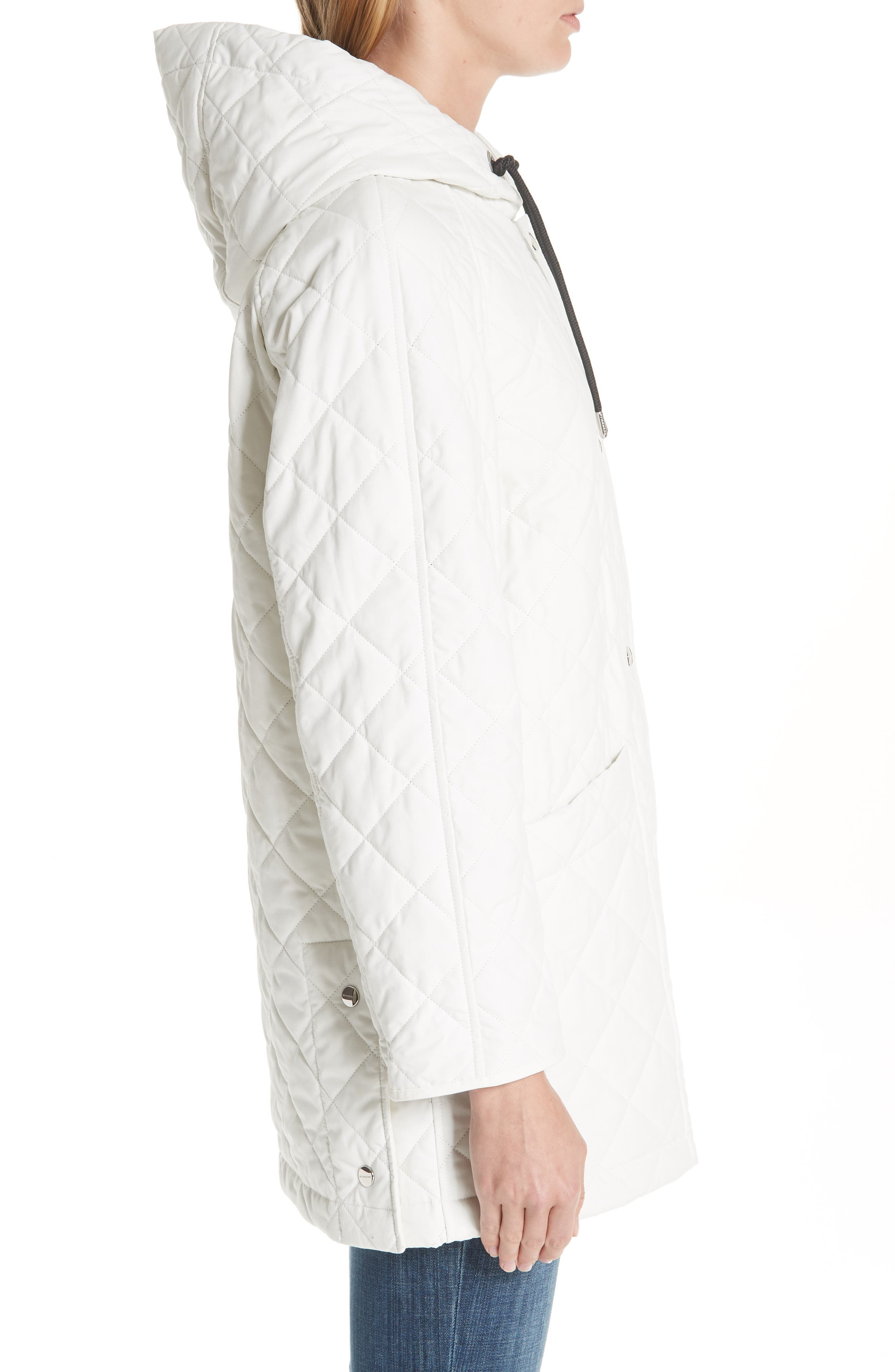 BURBERRY, Roxwell Embroidered Archive Logo Quilted Coat, Alternate thumbnail 3, color, 100