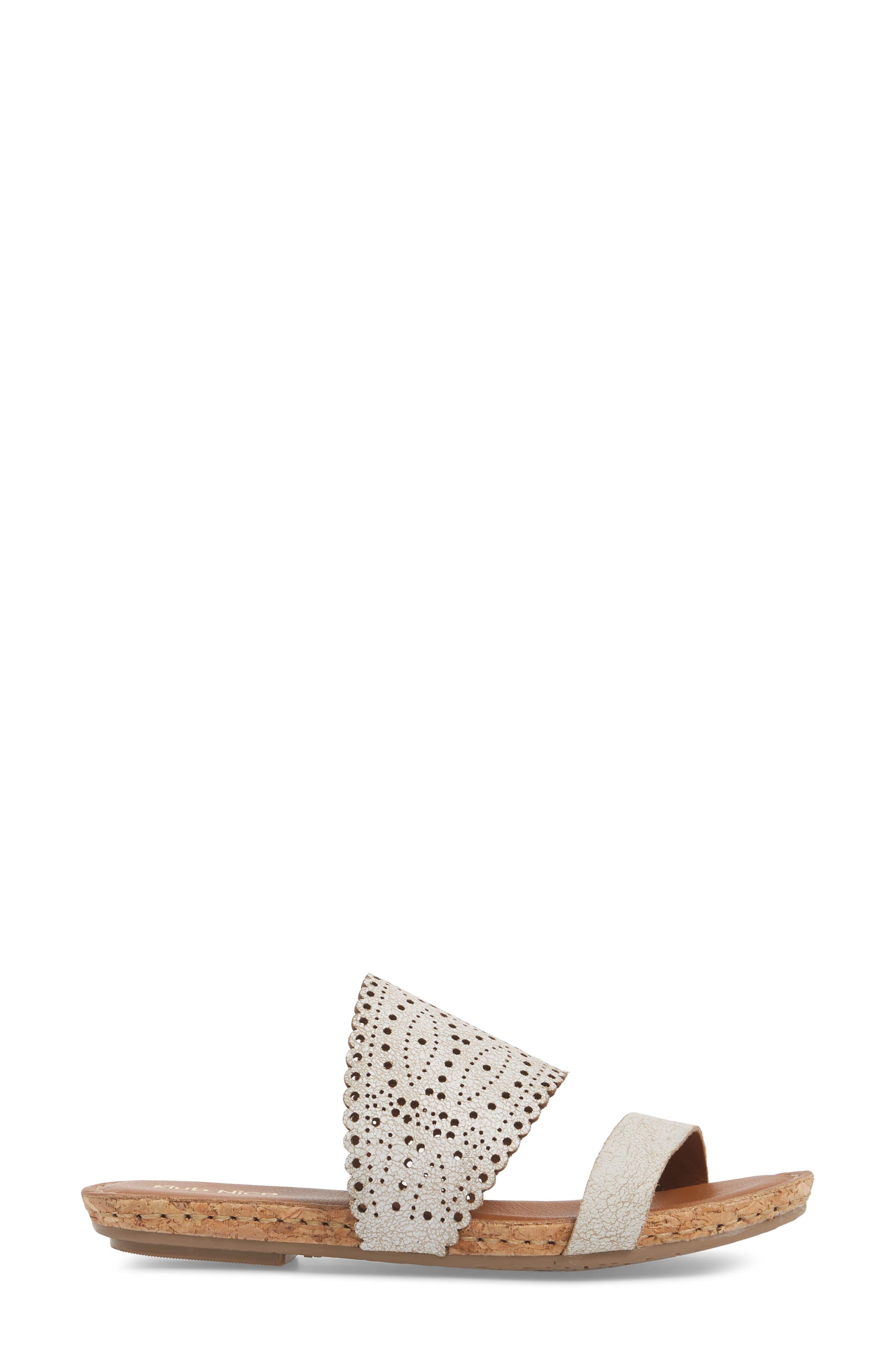 KLUB NICO, Ginette Perforated Slide Sandal, Alternate thumbnail 3, color, WHITE LEATHER
