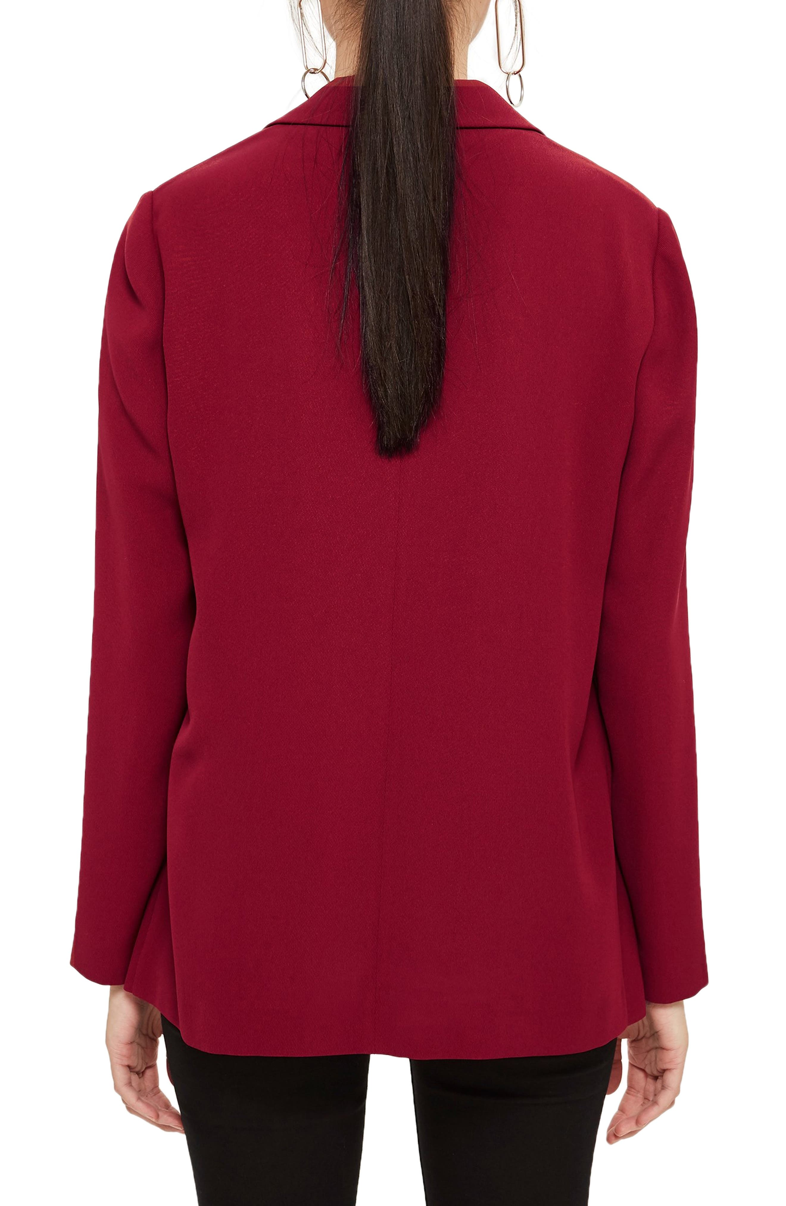 TOPSHOP, Chuck On Blazer, Alternate thumbnail 2, color, RED