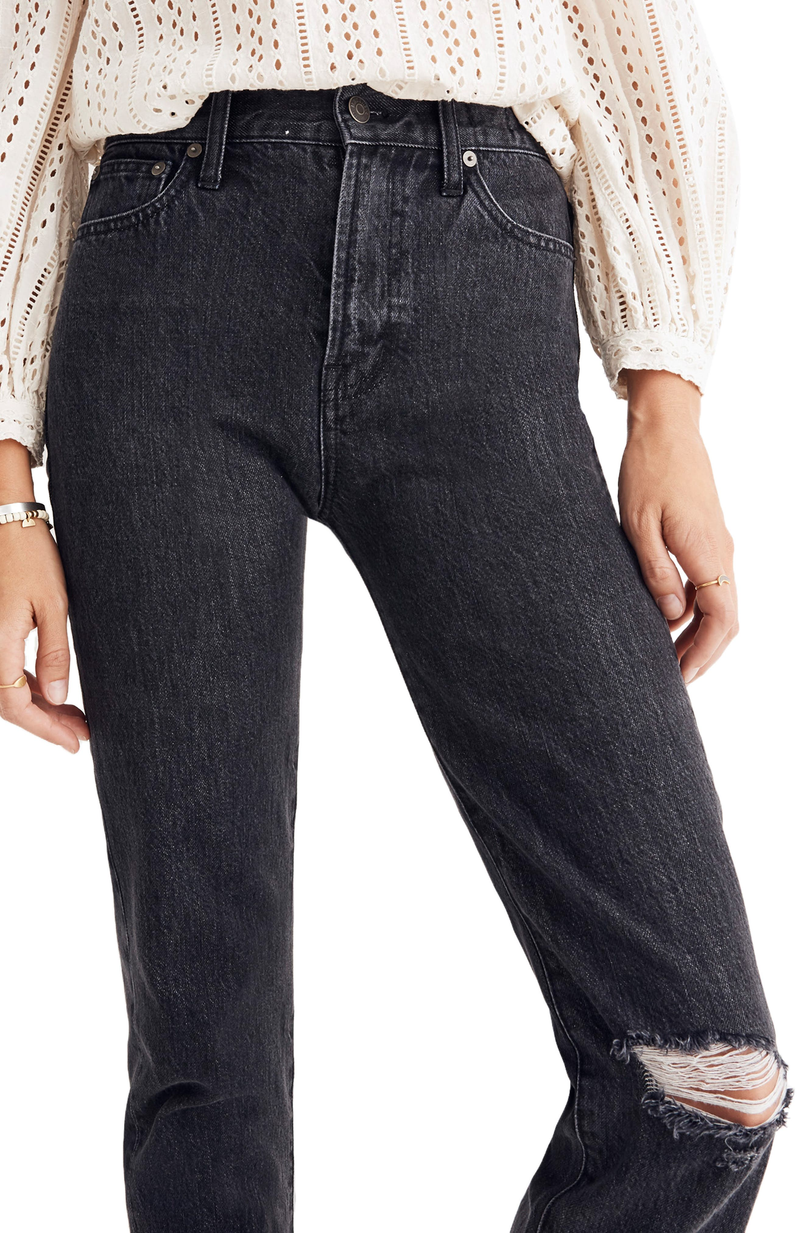 MADEWELL, The Perfect Vintage Ripped Knee Jeans, Main thumbnail 1, color, ROXSTONE