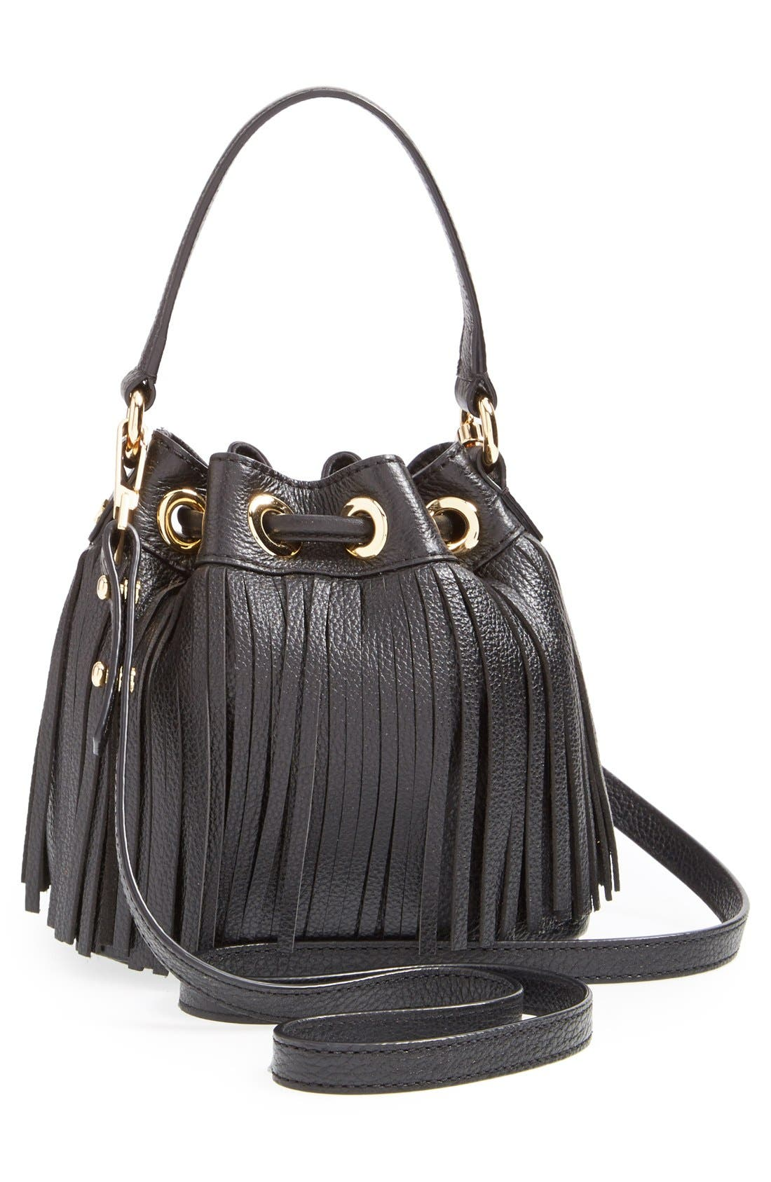MILLY, 'Small Essex' Fringed Leather Bucket Bag, Alternate thumbnail 4, color, 001