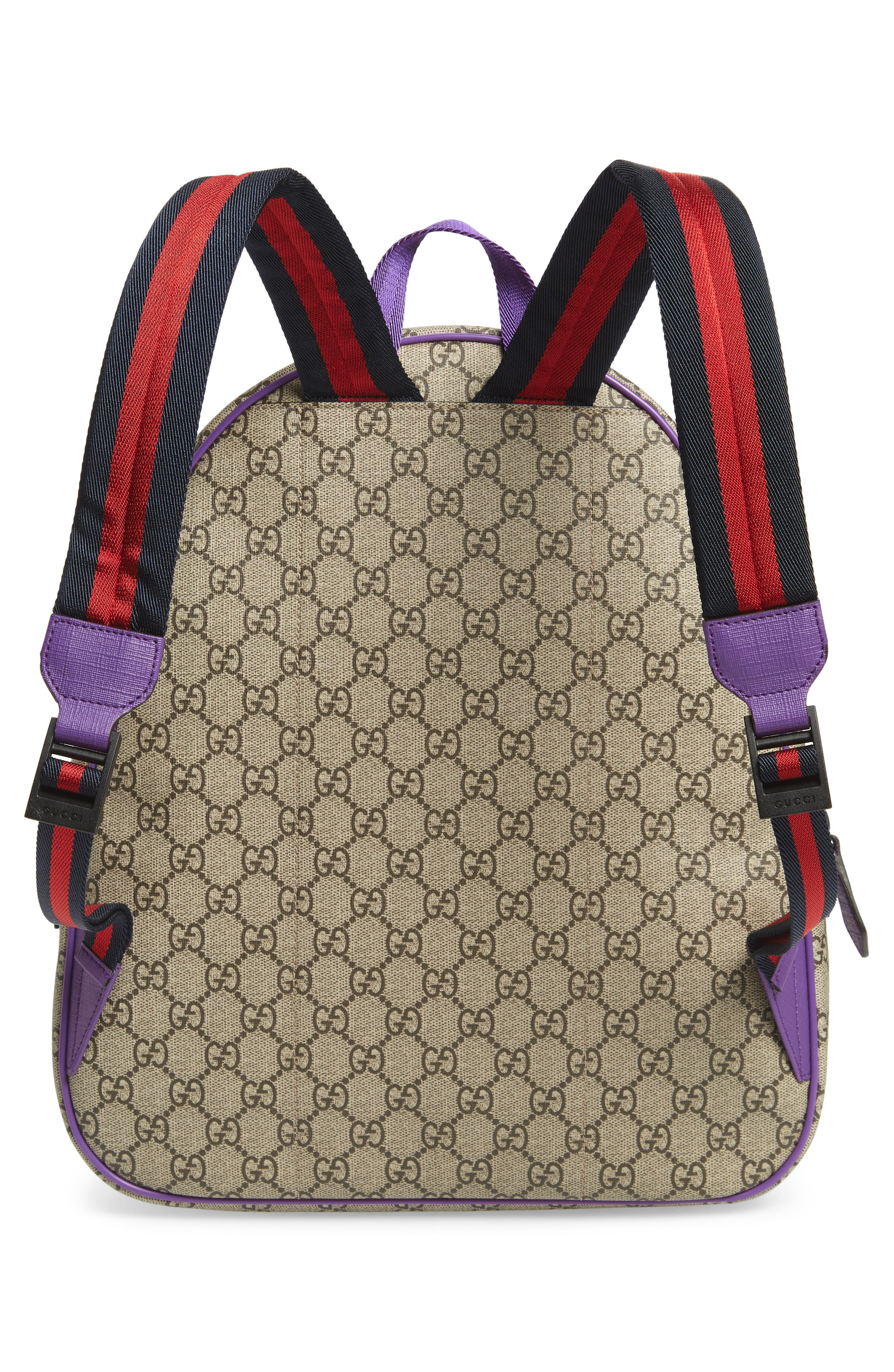 GUCCI, Junior Logo Backpack, Alternate thumbnail 2, color, BEIGE MULTI