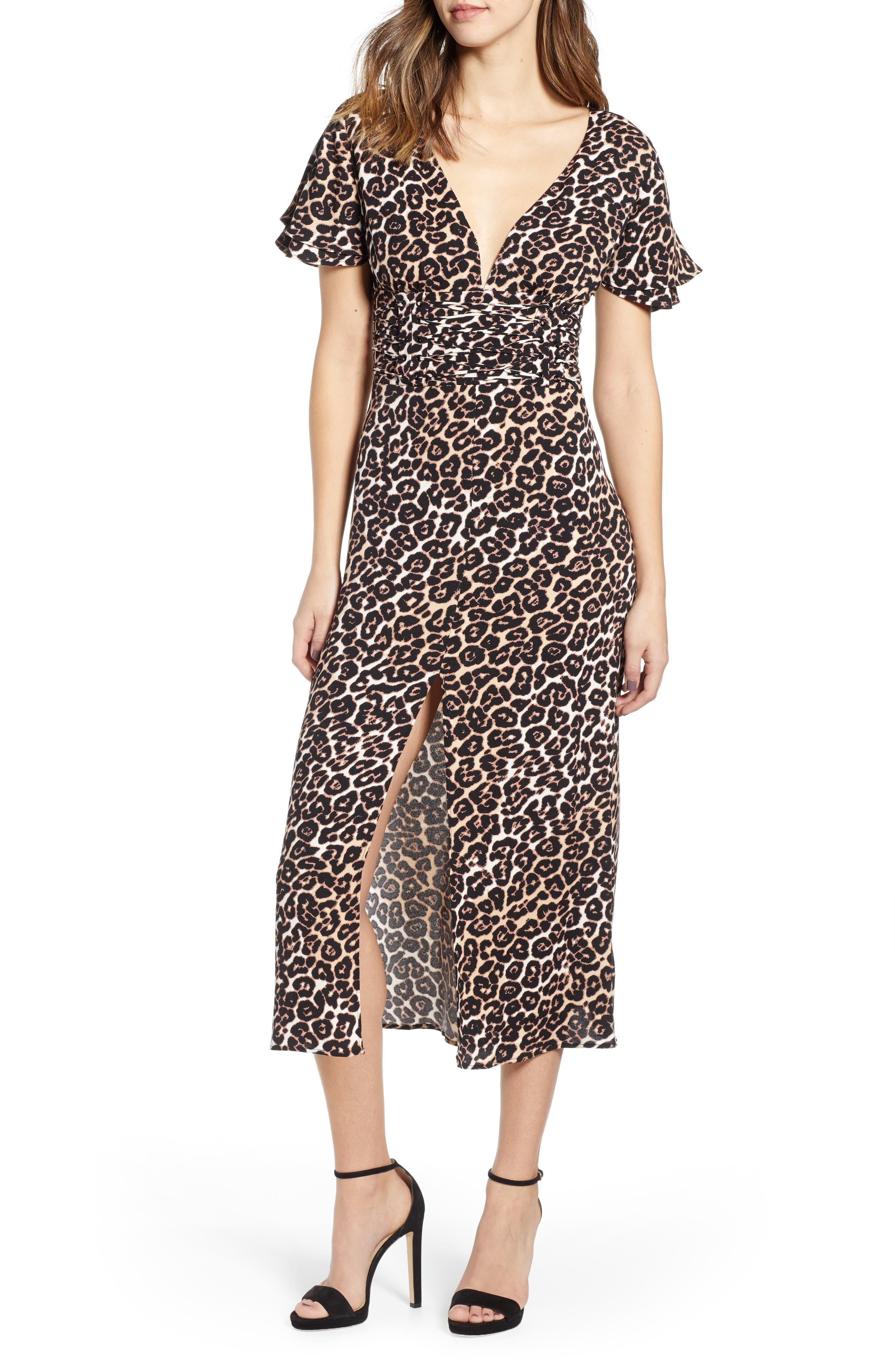 AFRM Carmen Corset Detail Print Dress, Main, color, LEOPARD