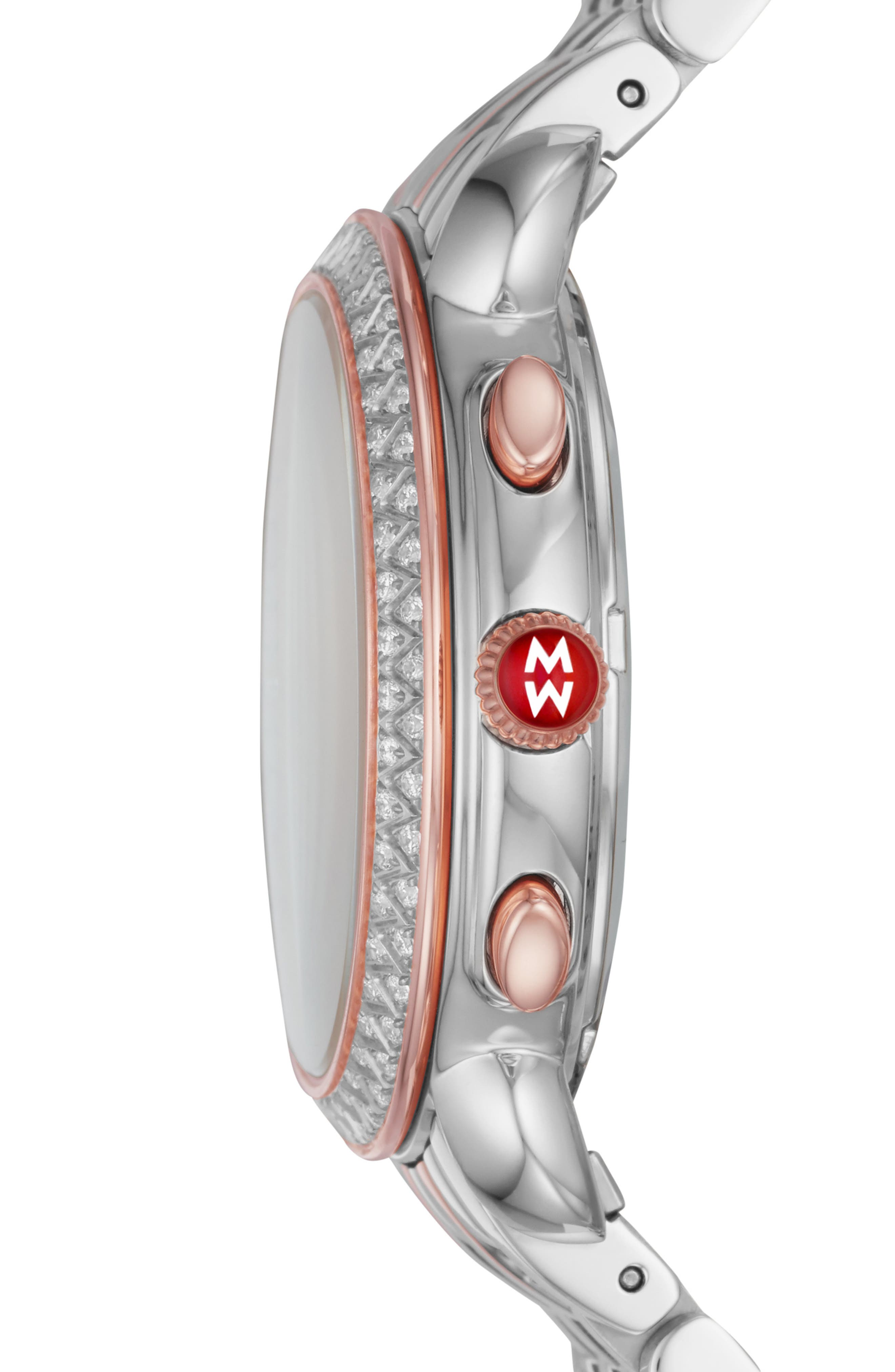 MICHELE, Sidney Chrono Diamond Diamond Dial Watch Case, 38mm, Alternate thumbnail 2, color, ROSE GOLD/ MOP/ SILVER