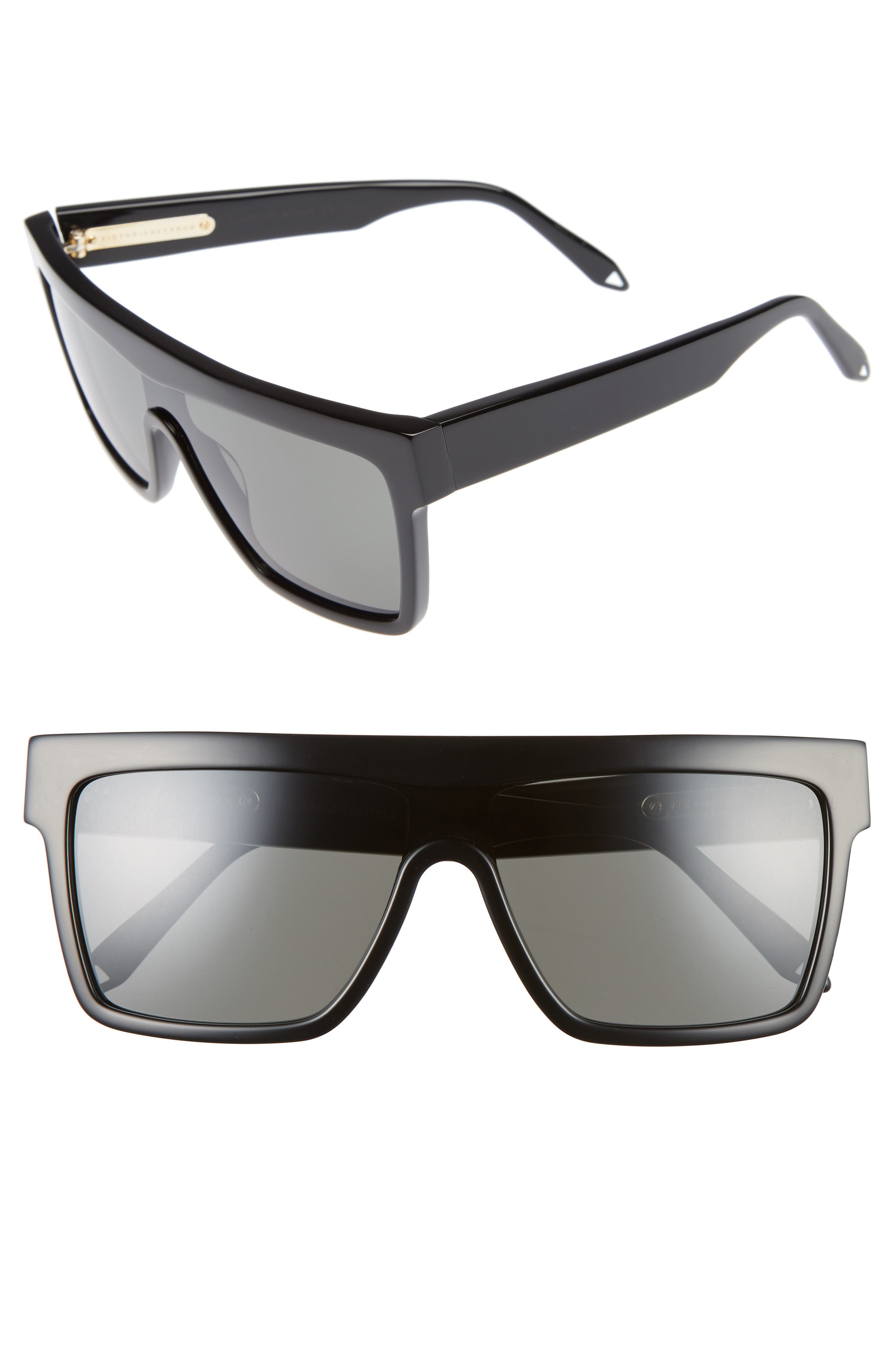 VICTORIA BECKHAM, 57mm Flat Top Sunglasses, Main thumbnail 1, color, 001